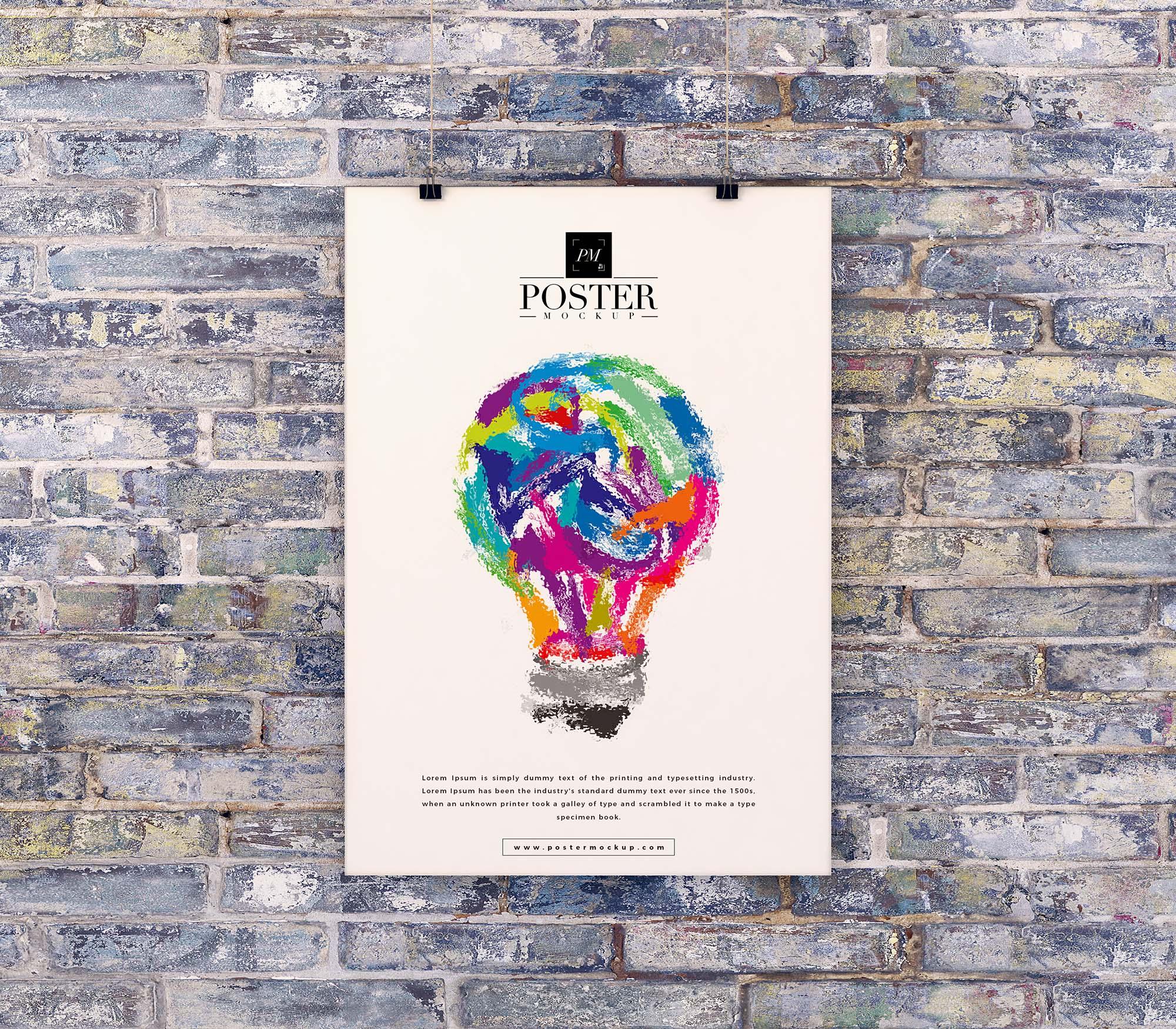 Poster on Brick Wall Mockup