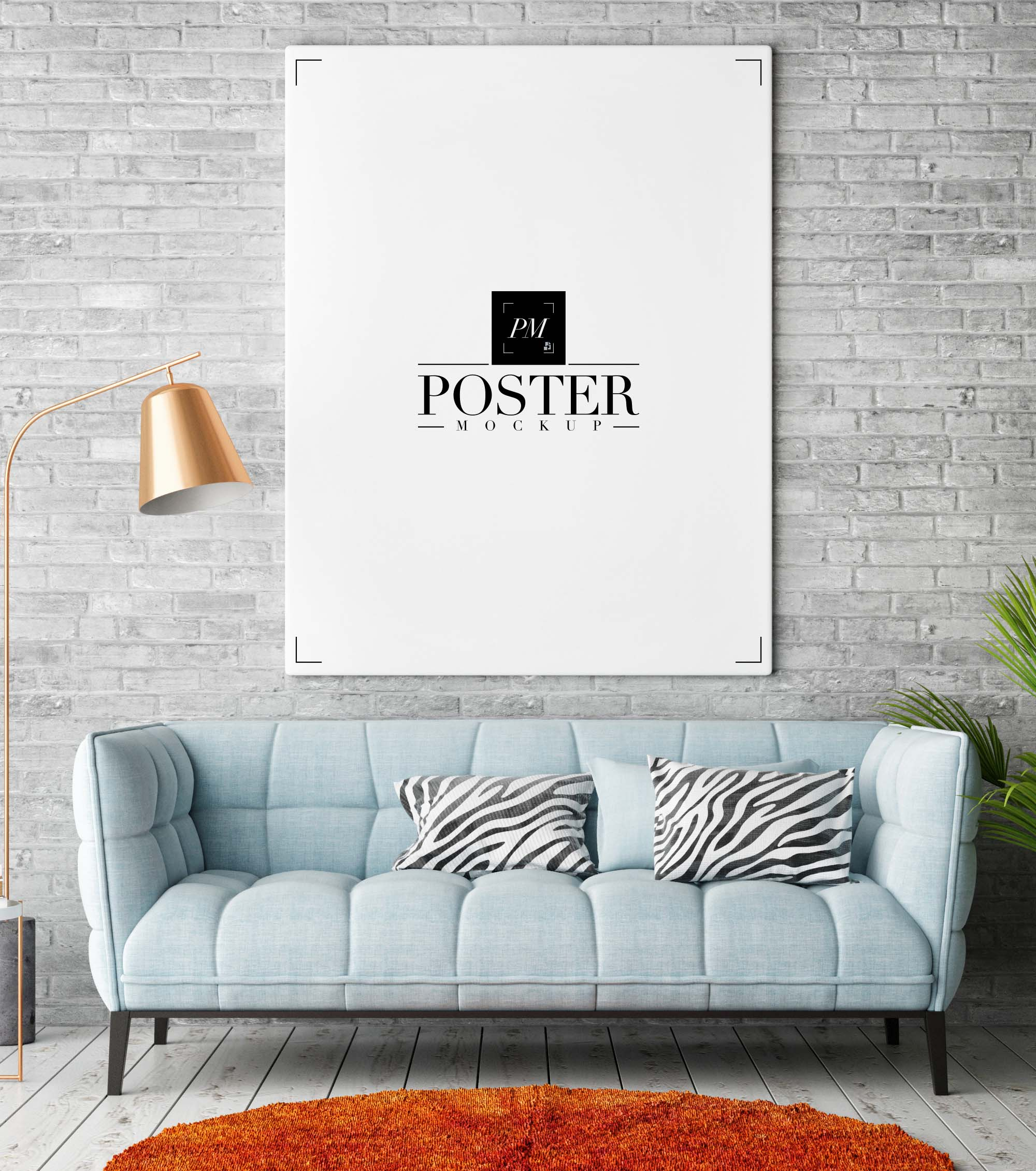 Free Room Interior Poster Mockup (PSD) on Room Decor Posters id=65508