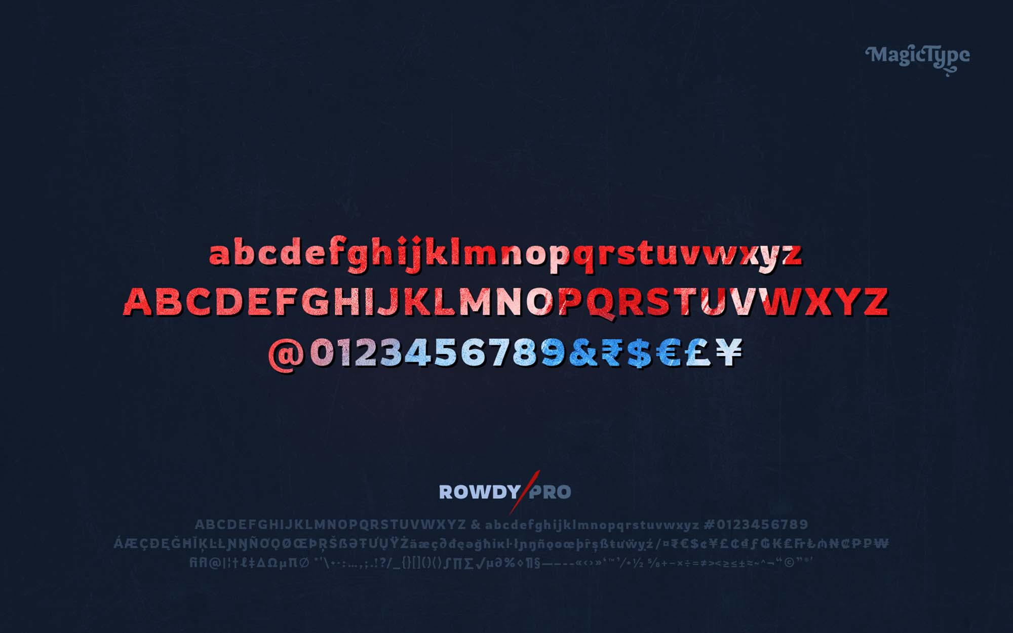 Rowdy Latin Typeface Letters