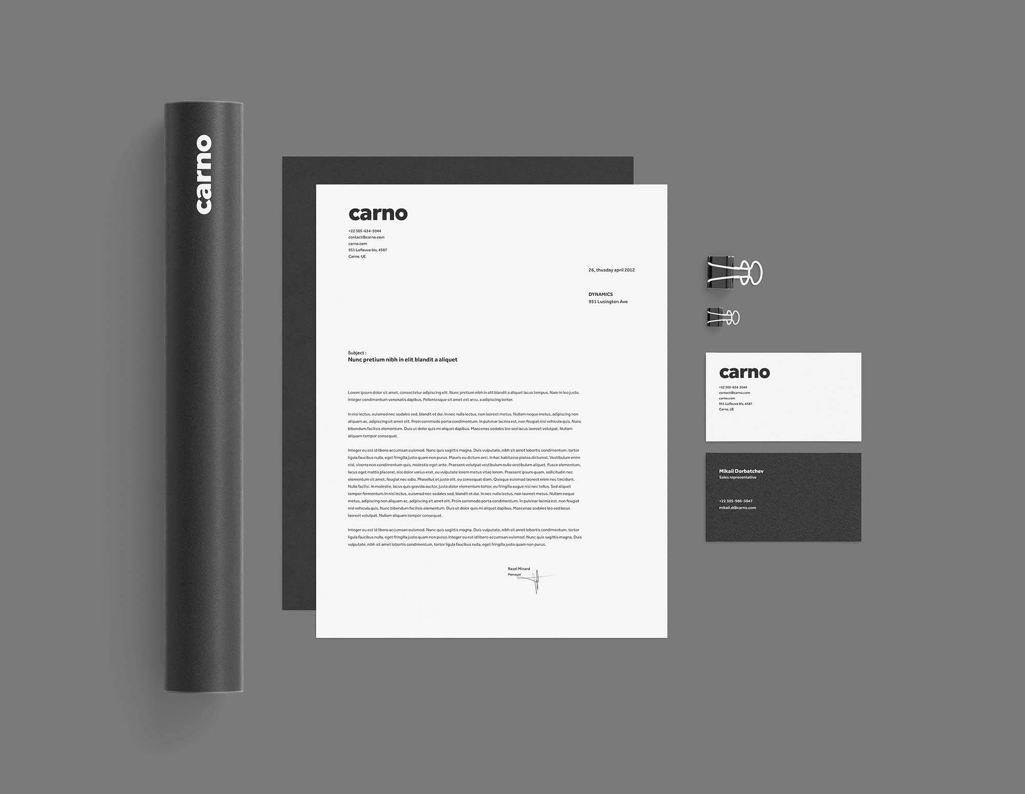 Black and White Stationery Mockup