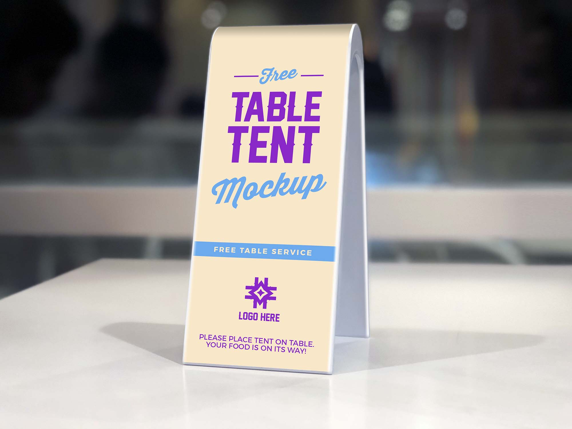 free restaurant table tent mockup psd