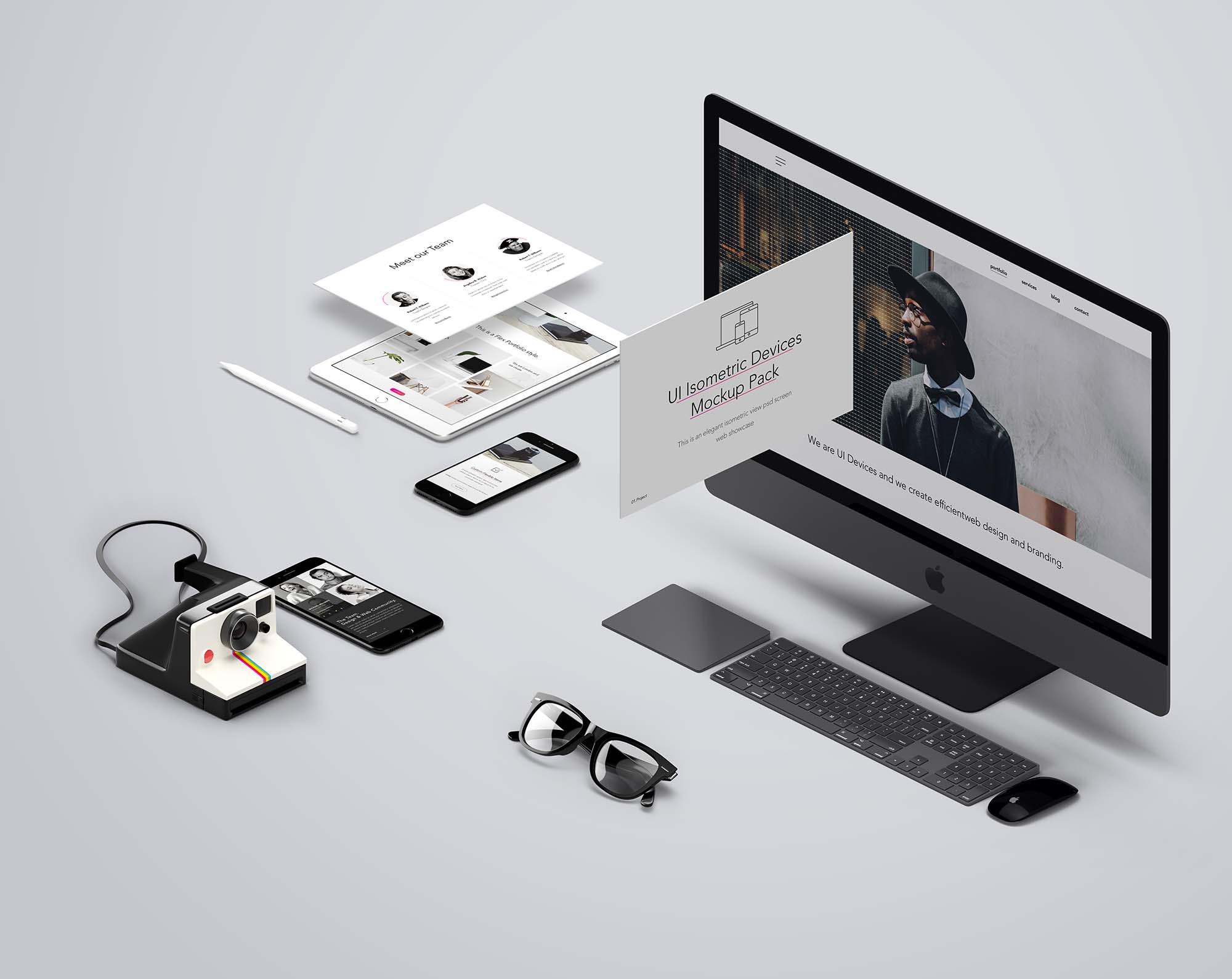 UI Isometric Devices Mockup