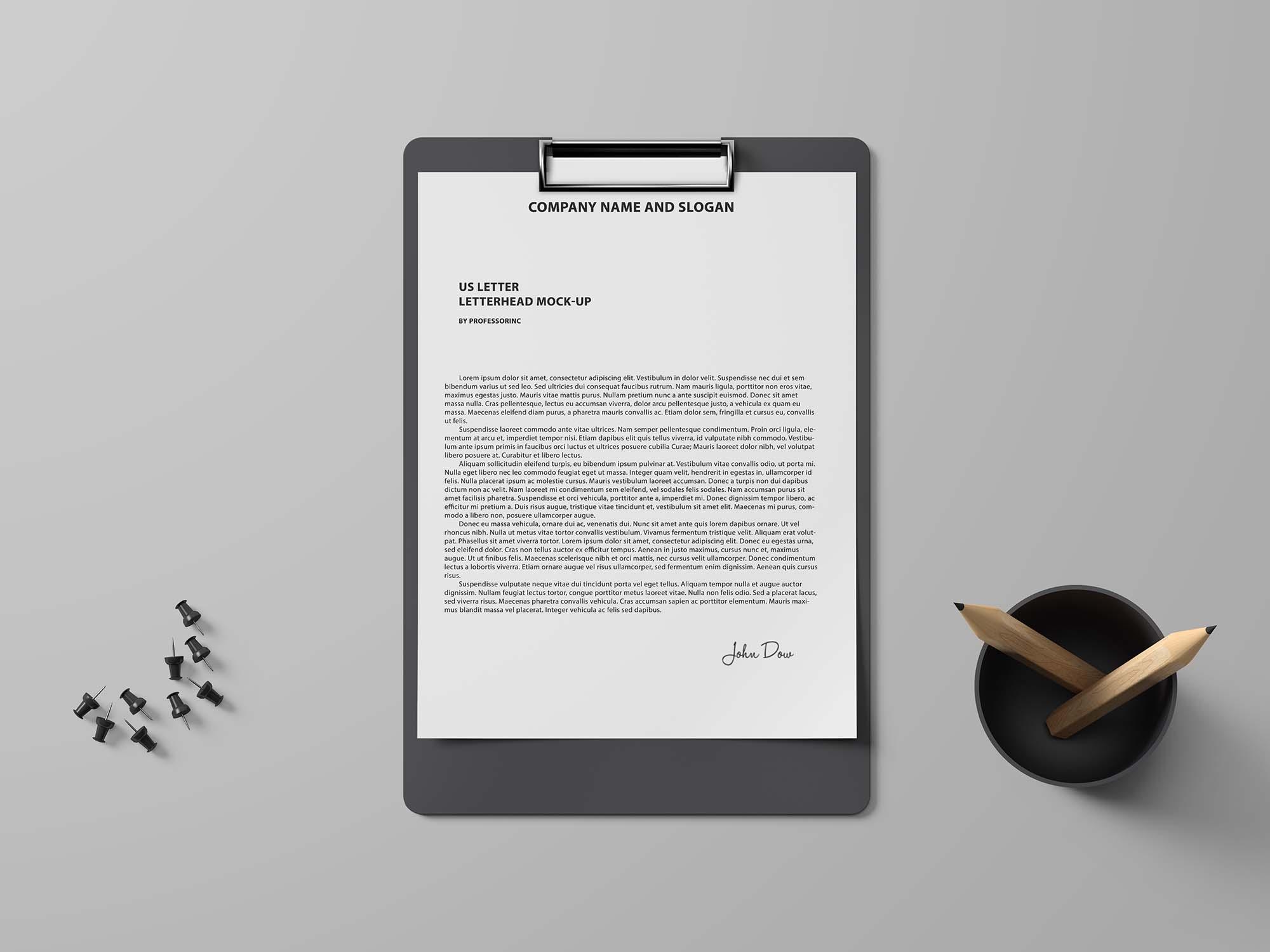 US Letter Paper and Folder Mockup