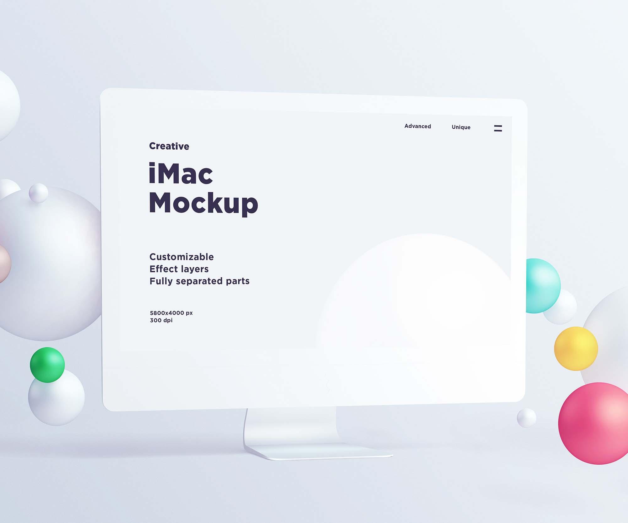 iMac with Spheres Mockup
