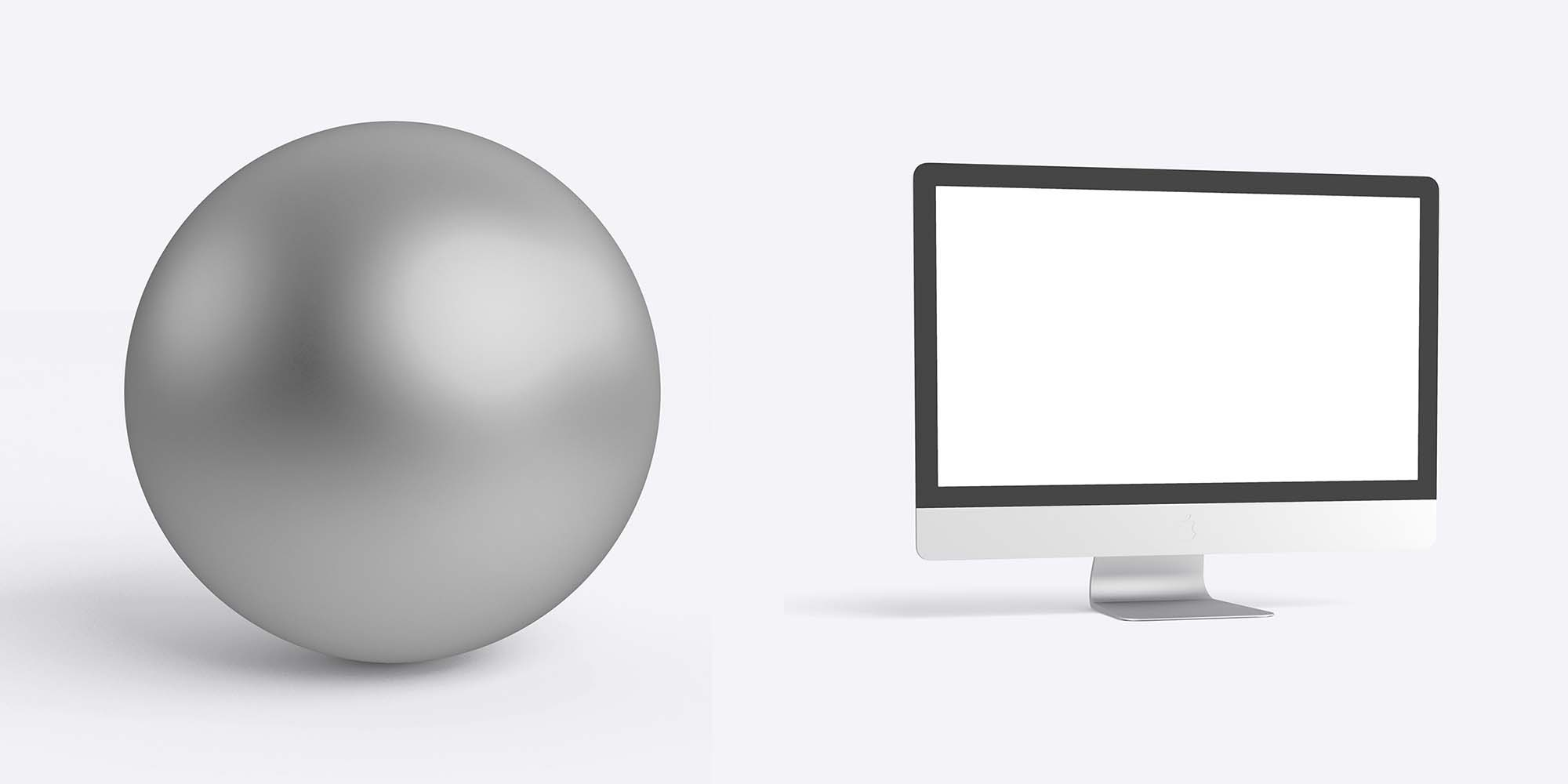 iMac with Spheres Mockup