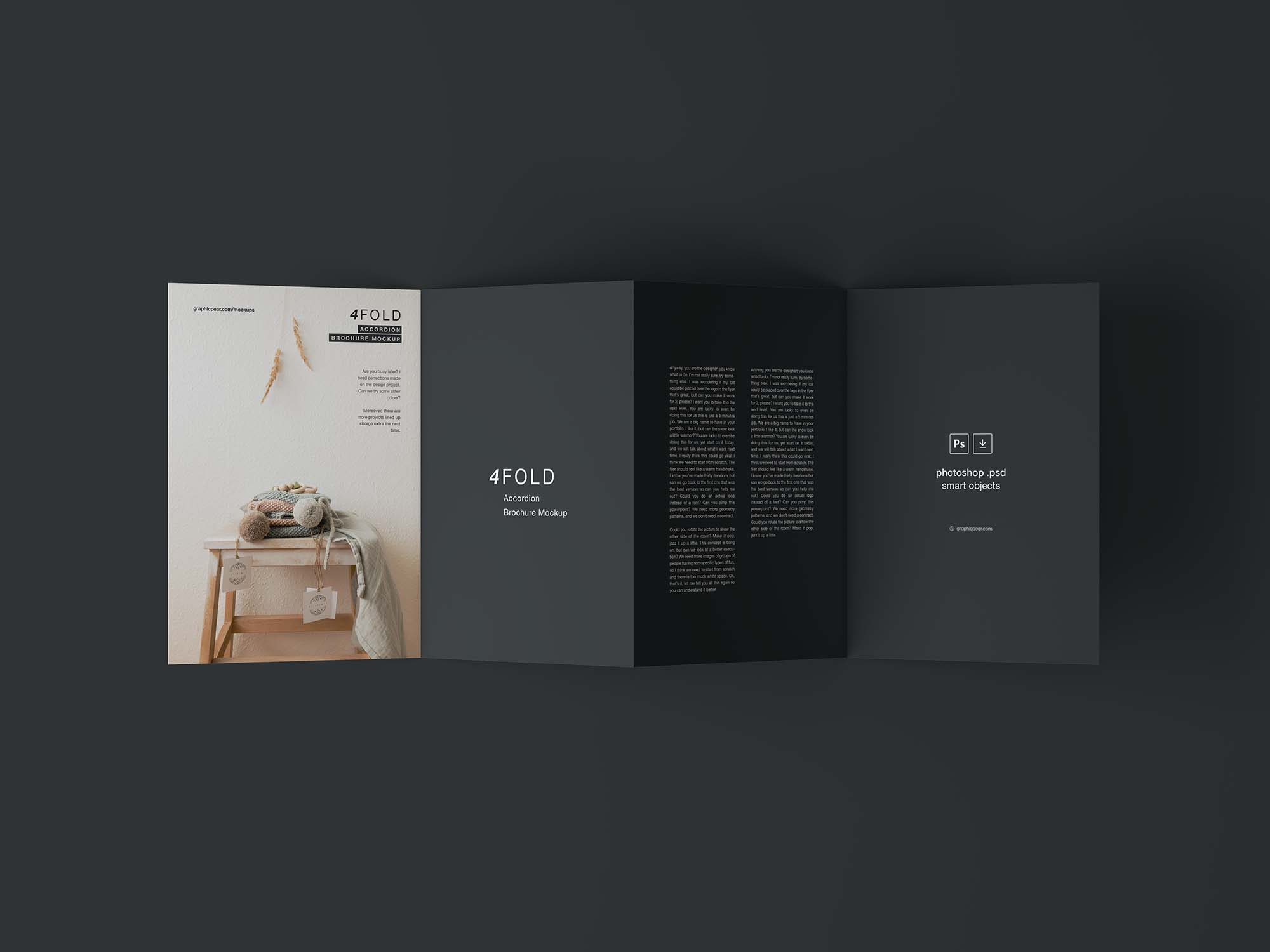 free 4 accordion fold brochure mockup psd