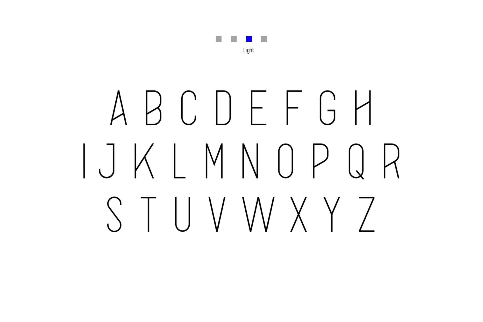 Alpha Font Family Uppercase Light