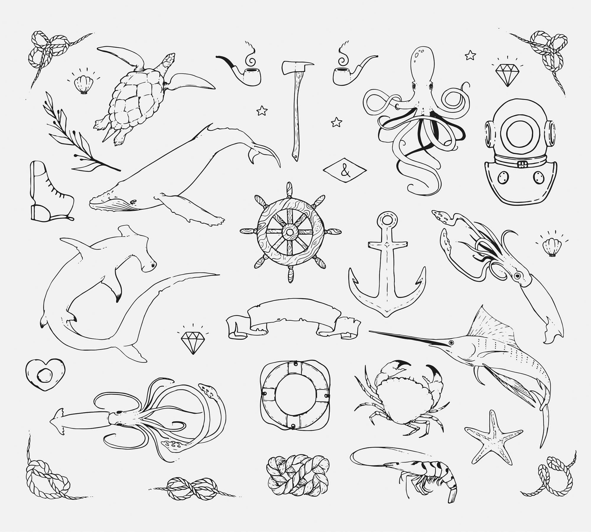 Sea Creatures Vector Doodles