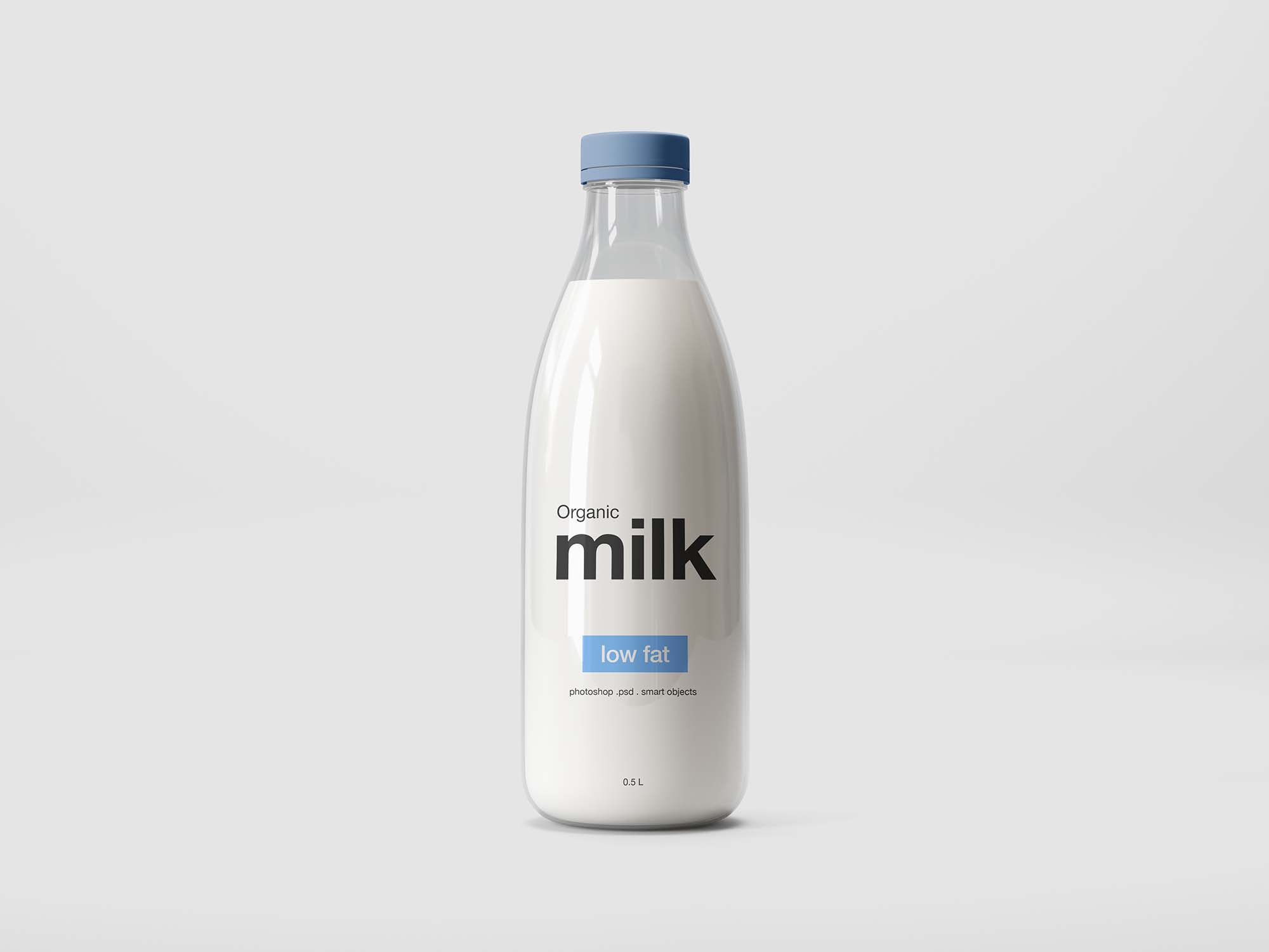 Glass Milk Bottle Mockup
