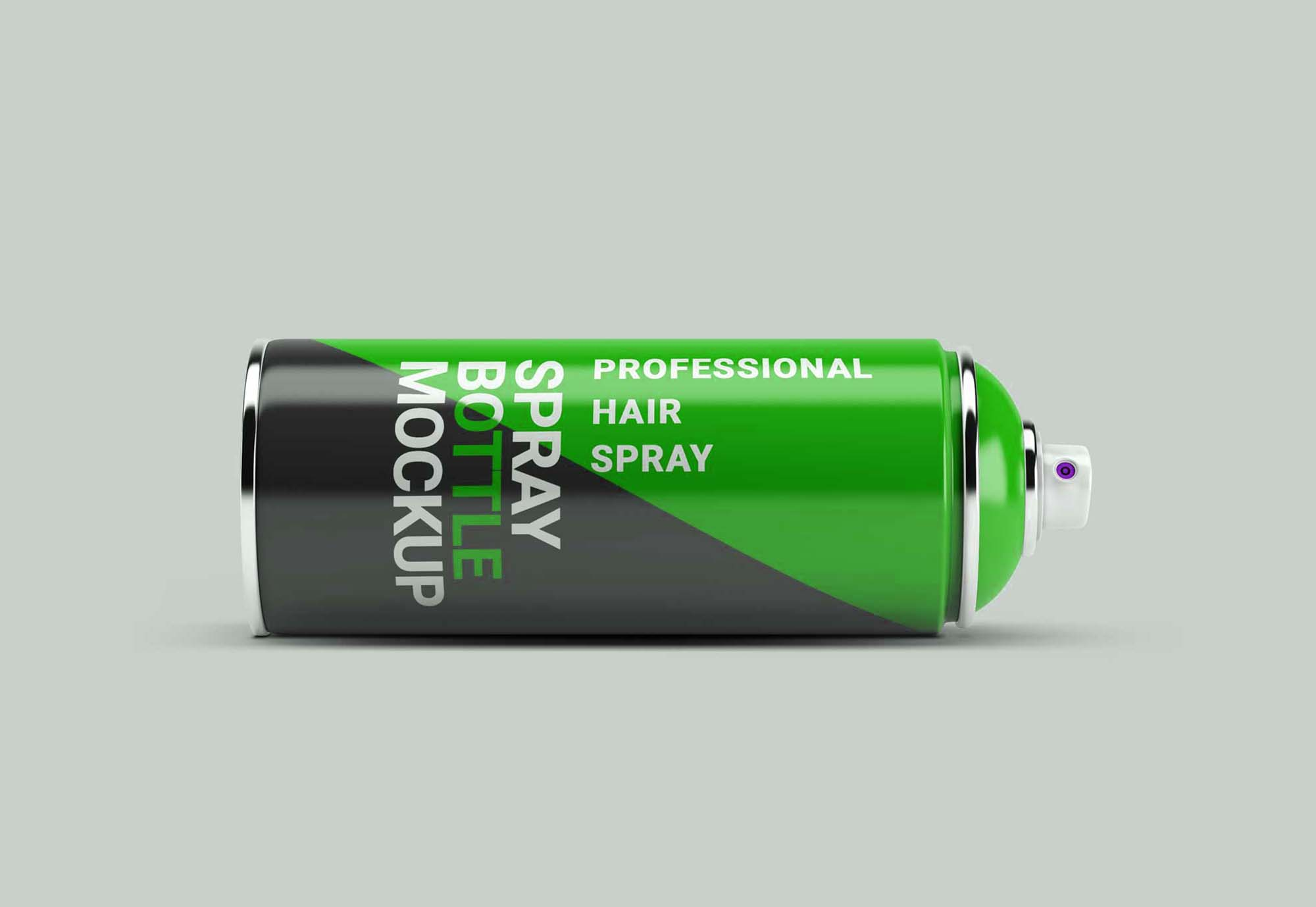 Horizontal Spray Paint Bottle Mockup