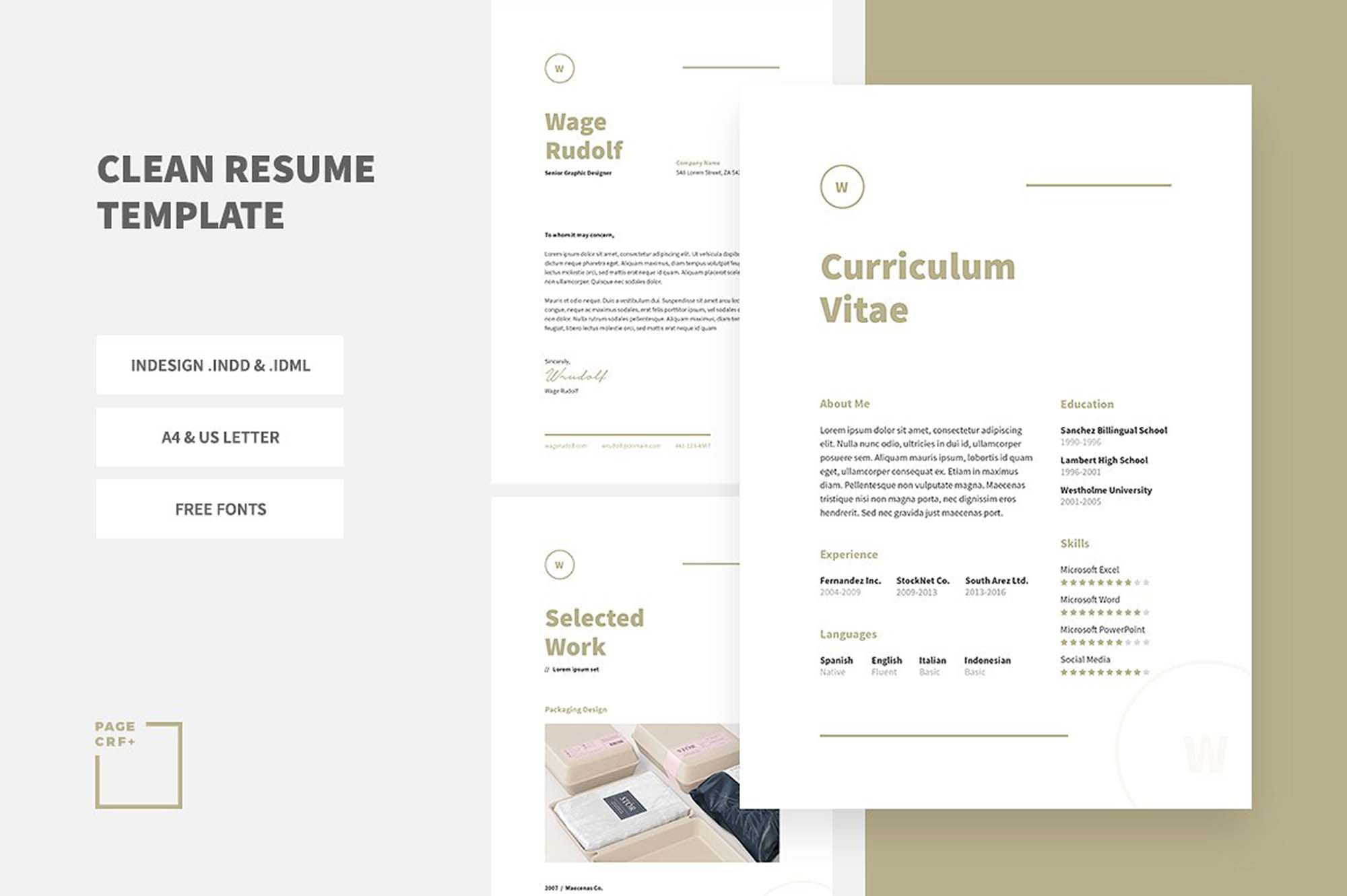 Free Clean Resume Template InDesign