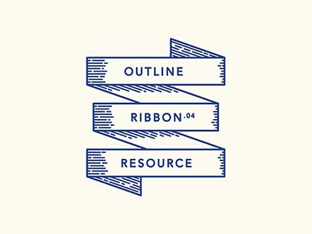 Retro Outline Ribbons