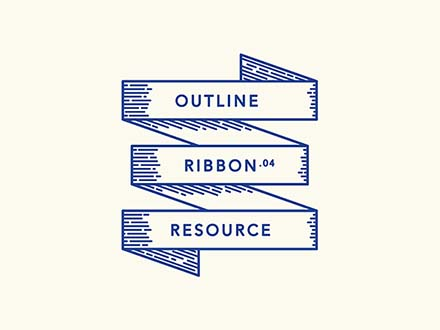 Retro Outline Ribbons
