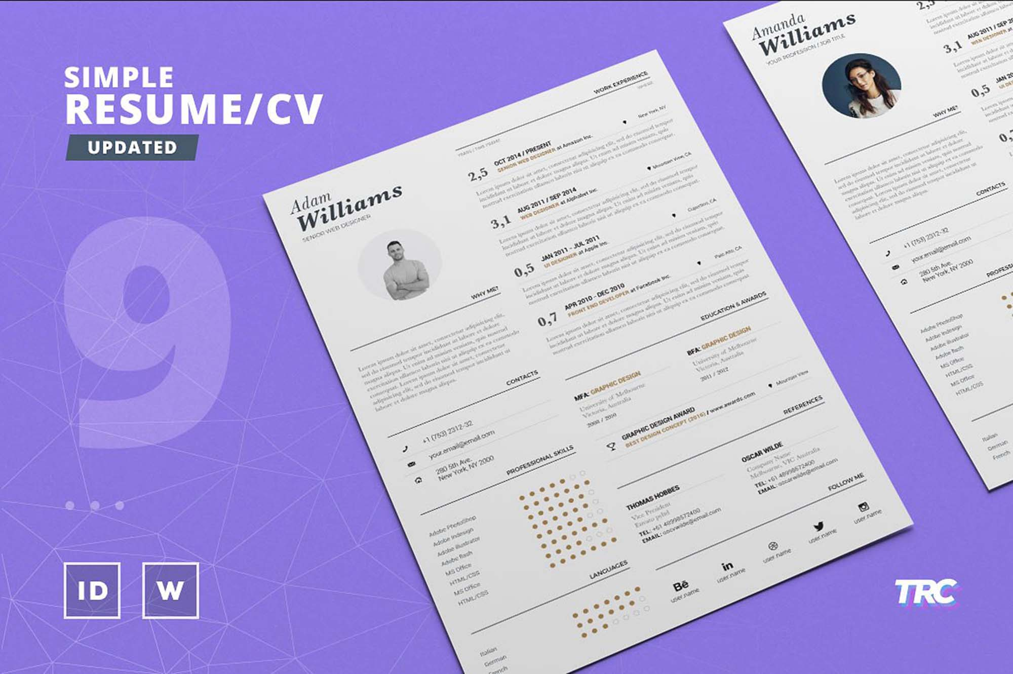 free typographic resume template
