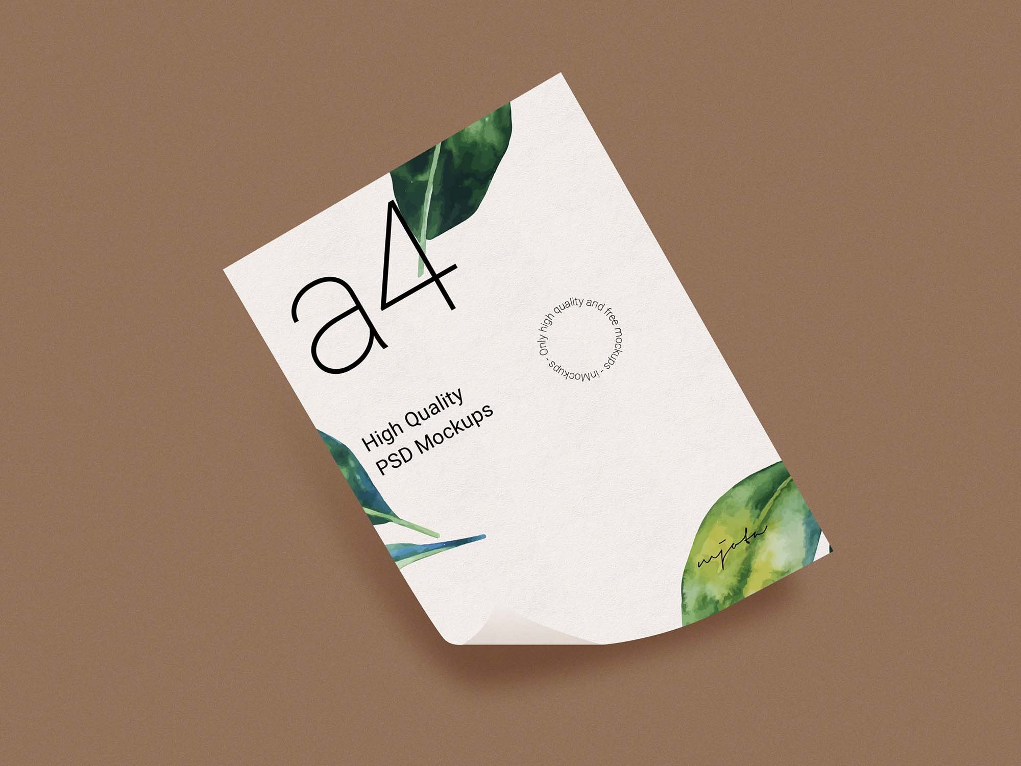 A4 Curved Paper Mockup