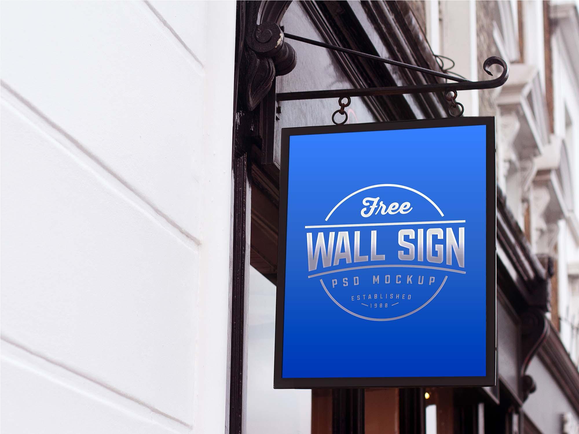 Wall Mounted Sign Mockup