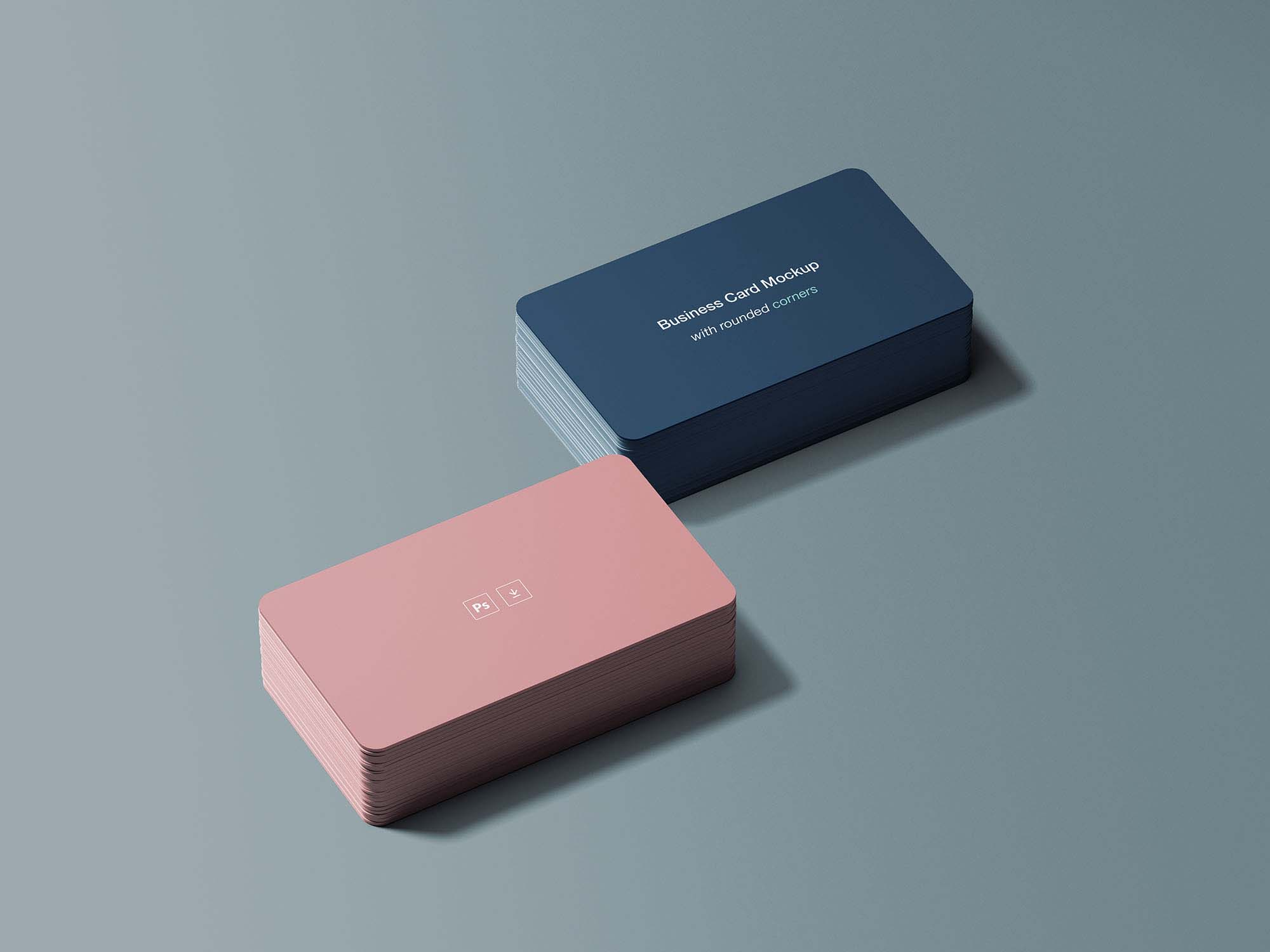 Rounded Corners Business Card Mockup Psd