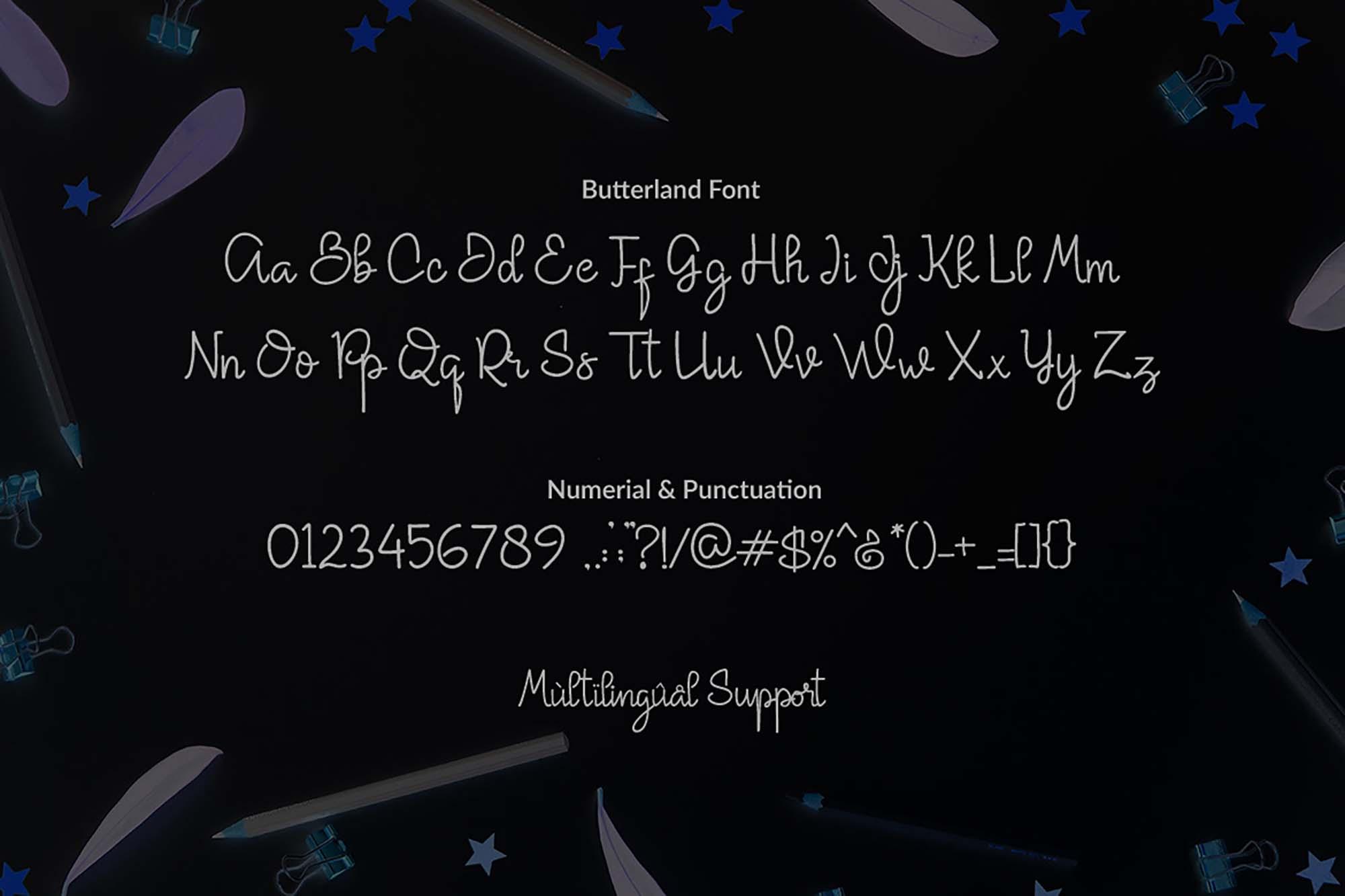 Butterland Font Uppercase