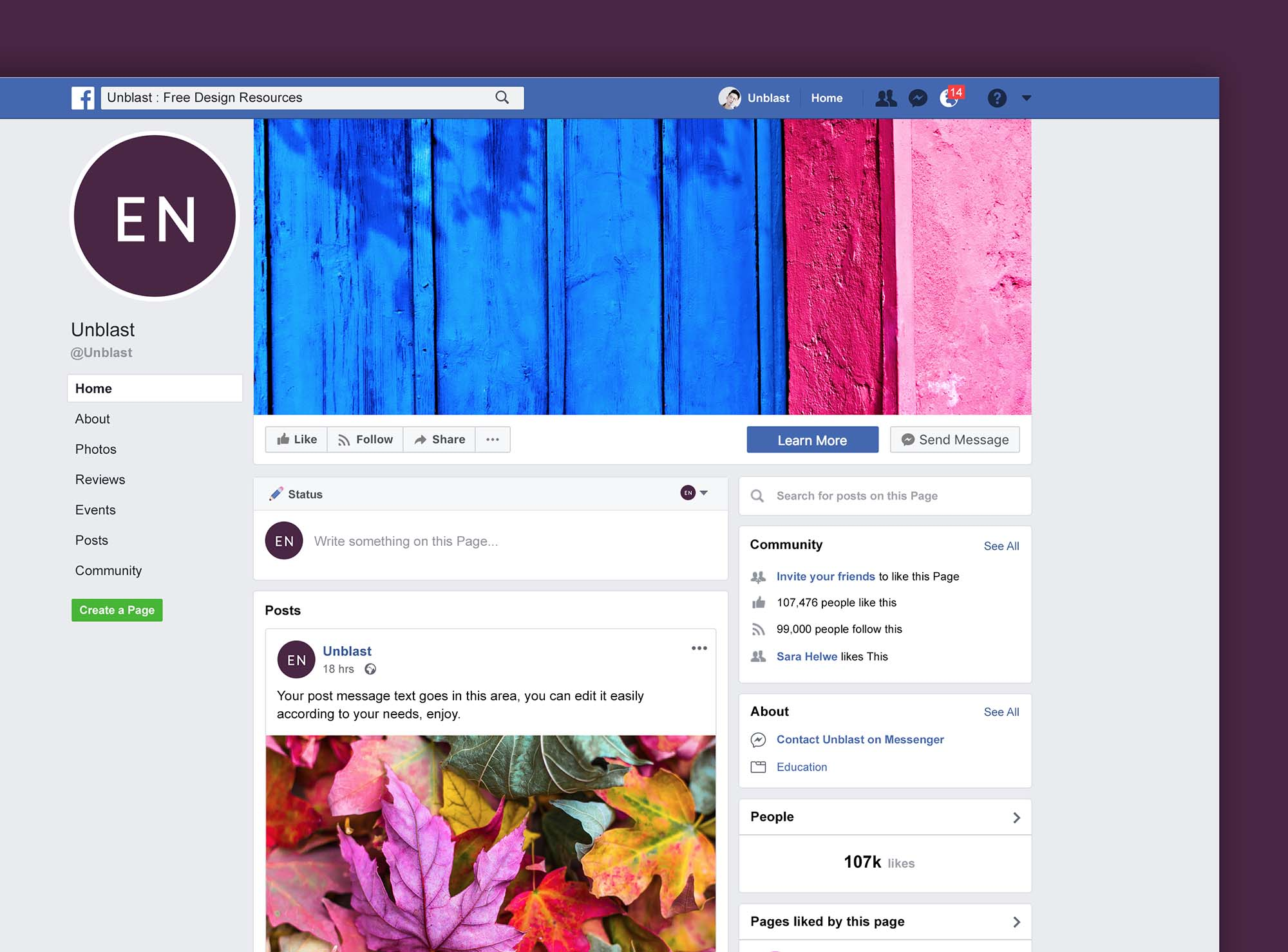 Facebook Page Mockup 2