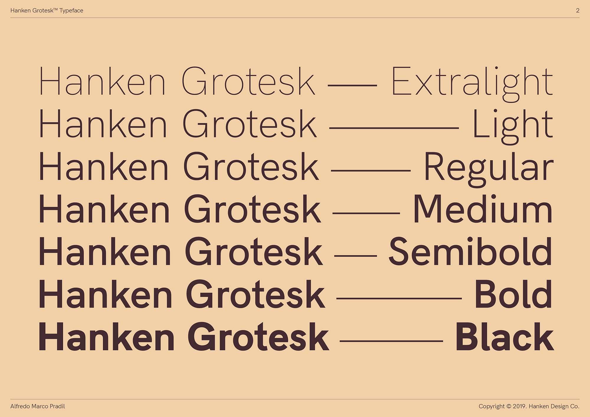 Hanken Grotesk Typeface