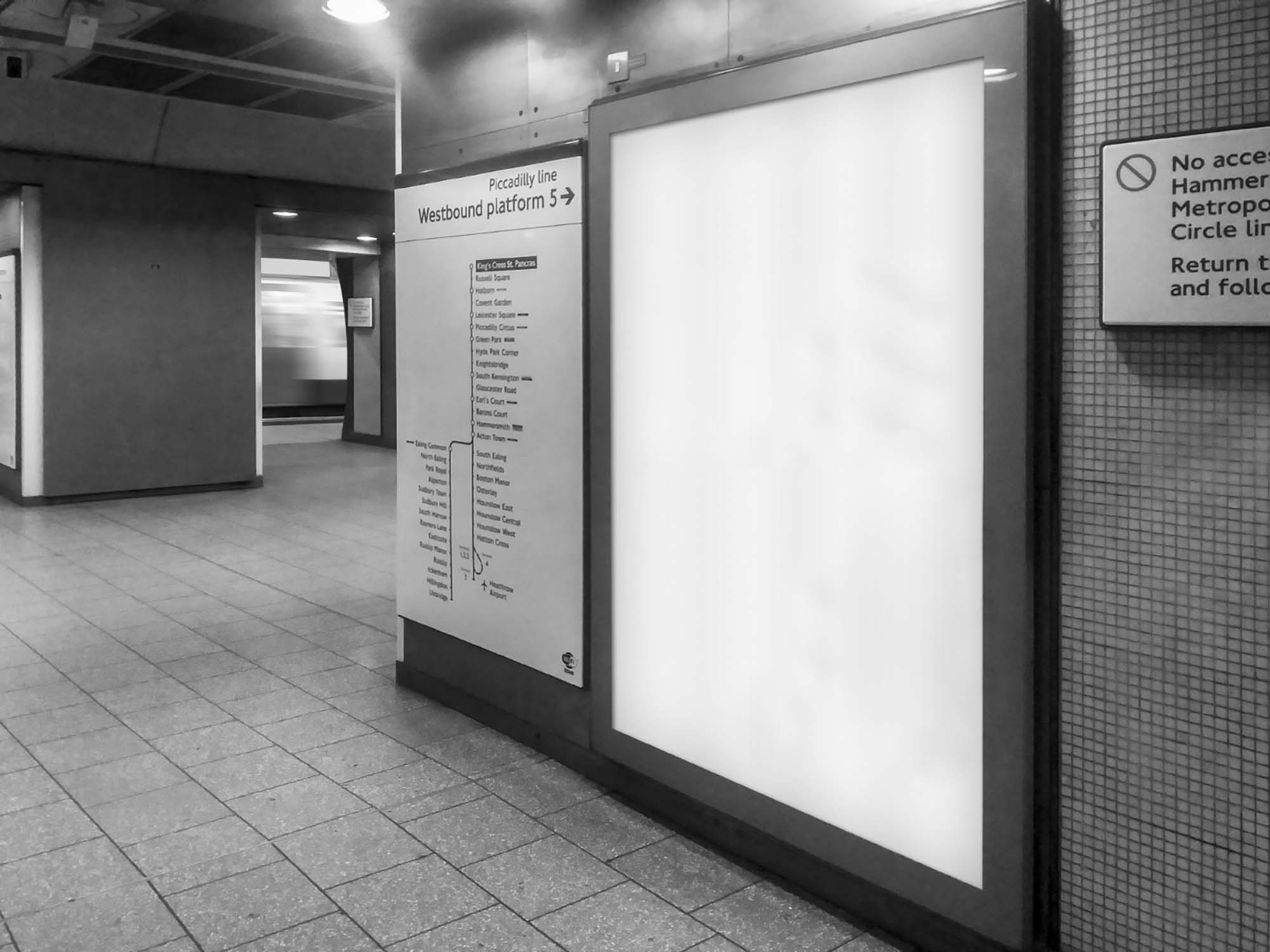 London Underground Advertising Screen Mockup