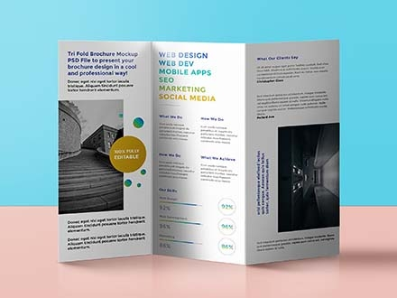 Standing Trifold Brochure Mockup