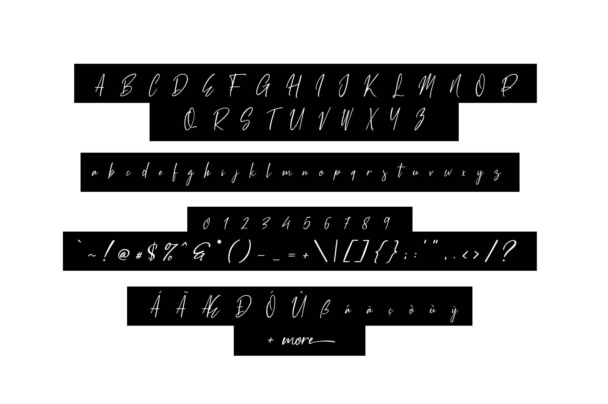 White Pen Script Font Characters