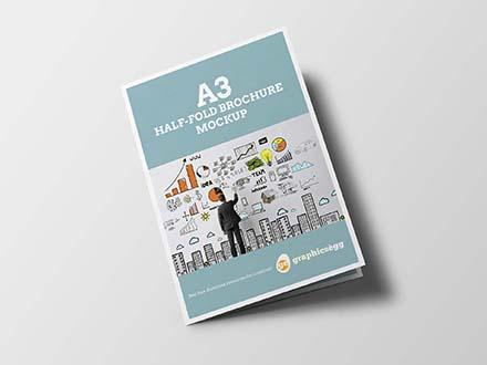 a3 bifold brochure mockup