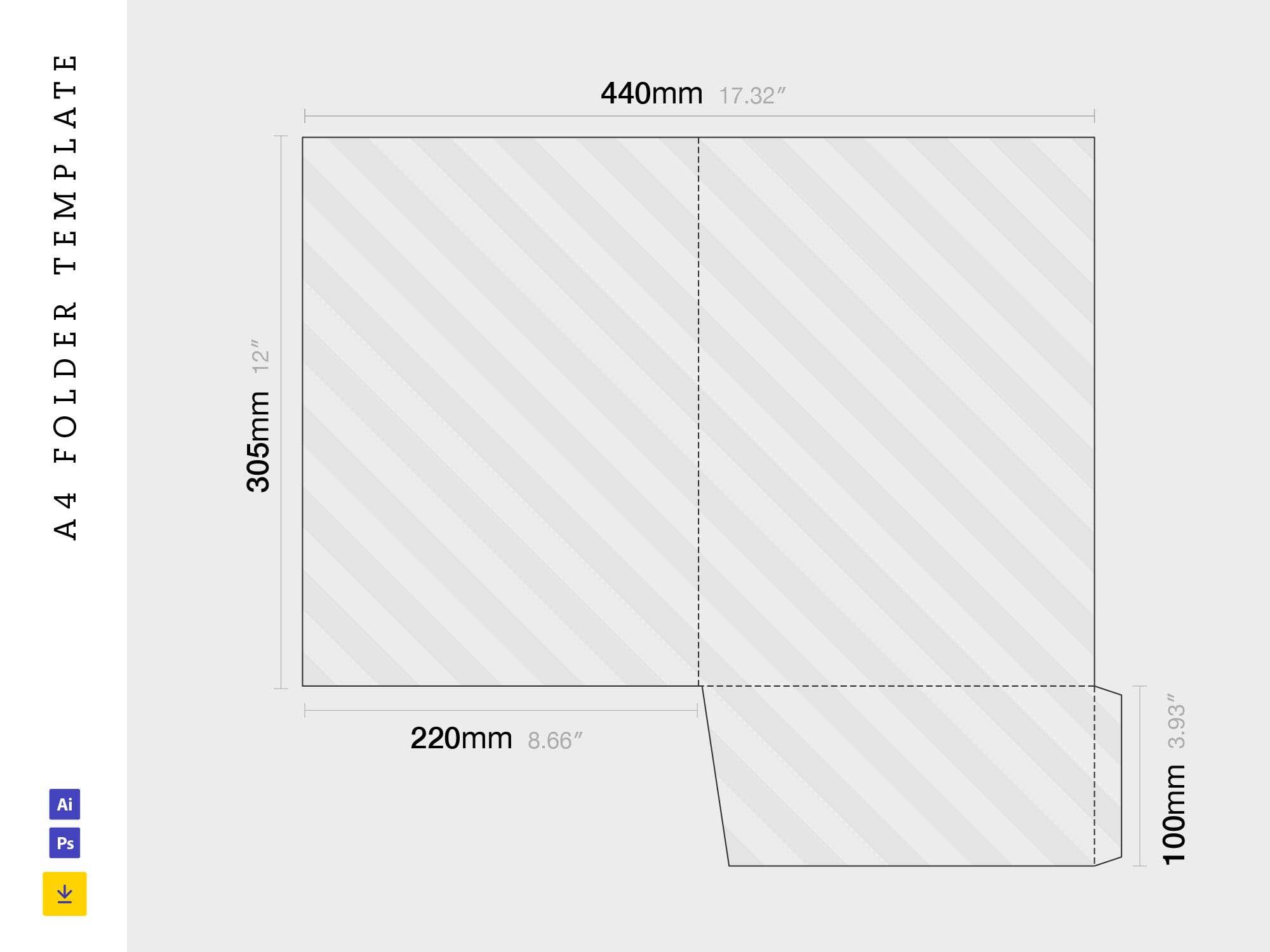 A4 Folder Template Dieline