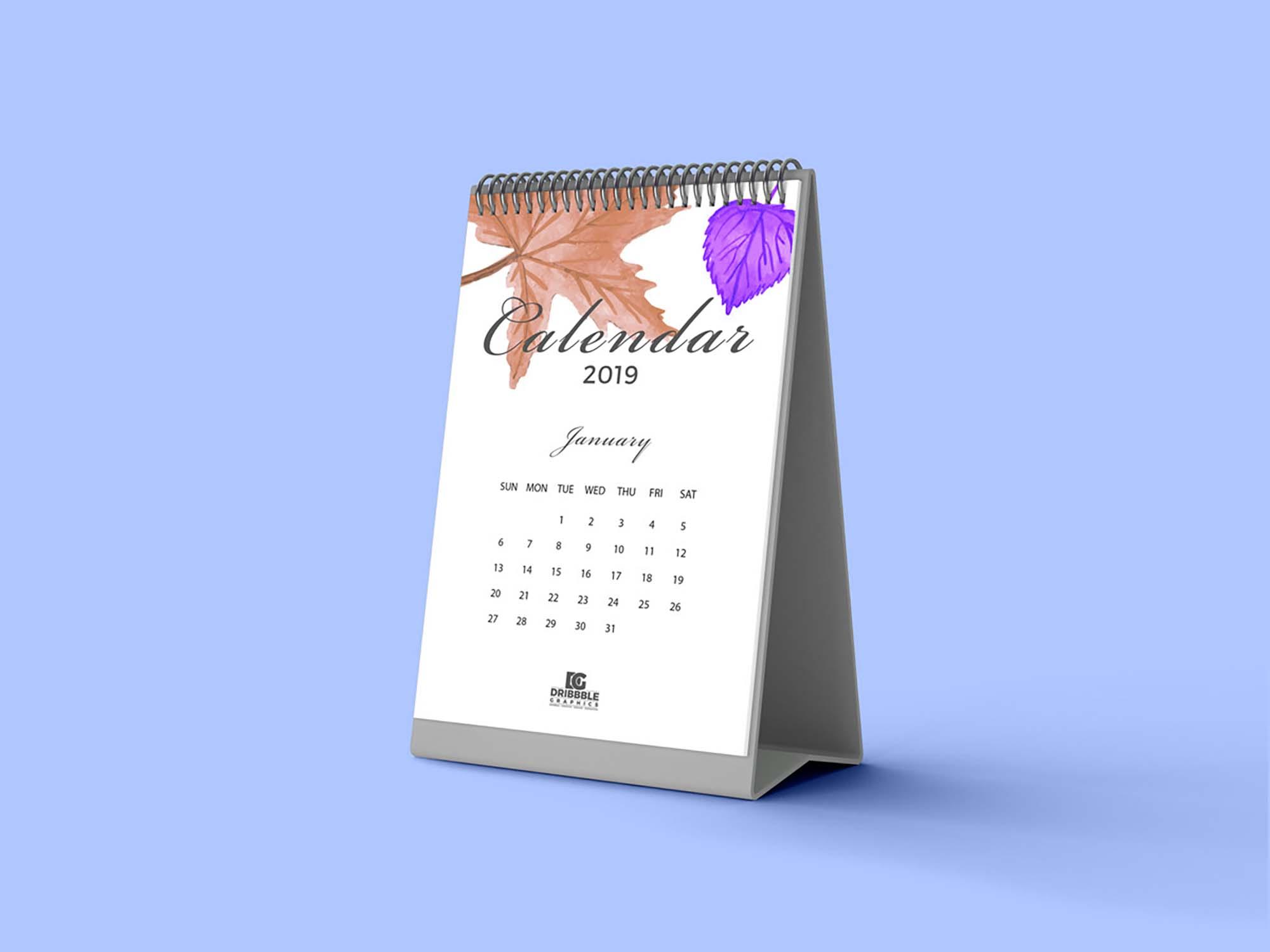Standing Desk Calendar Mockup