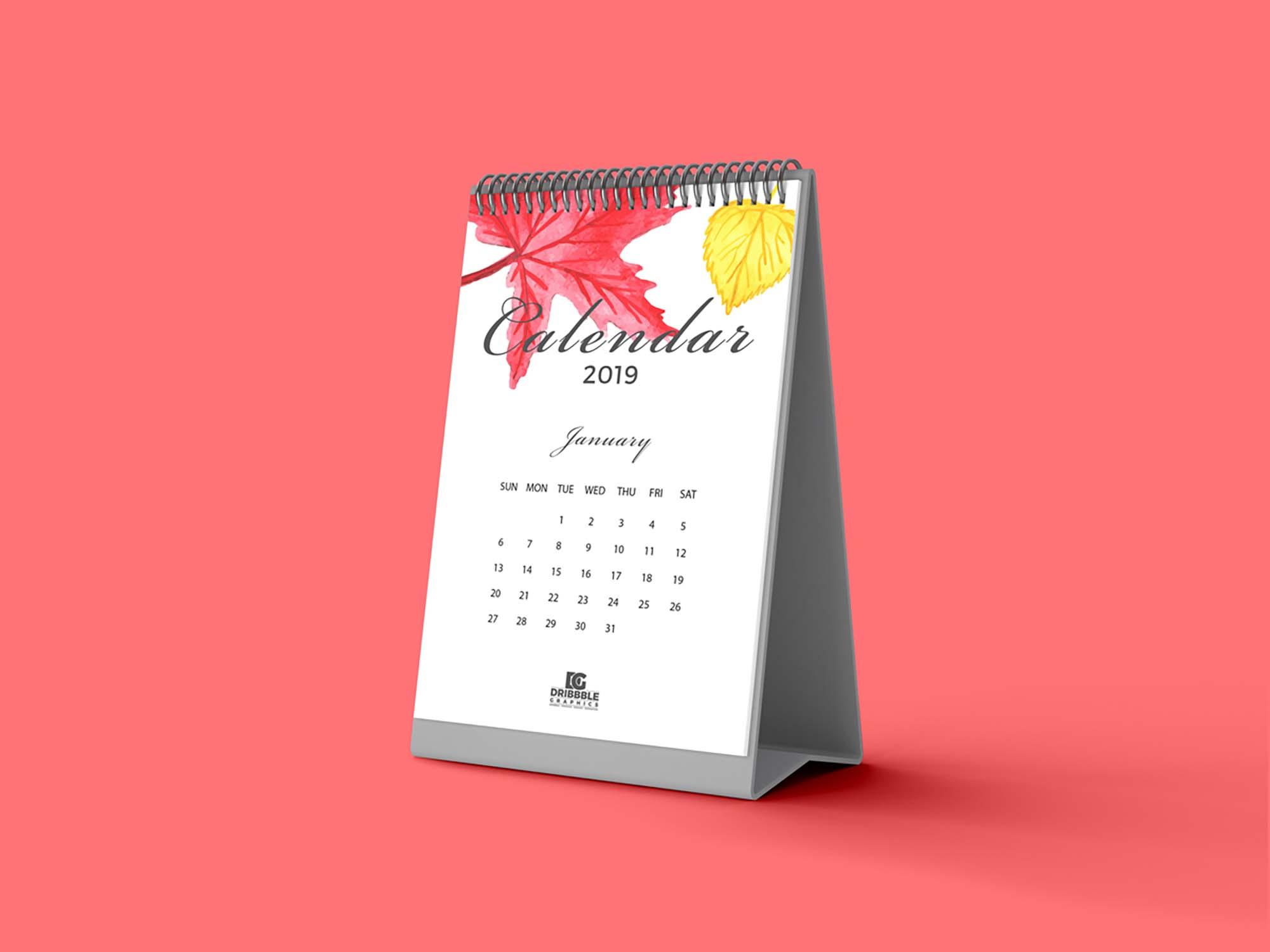Standing Desk Calendar Mockup 1