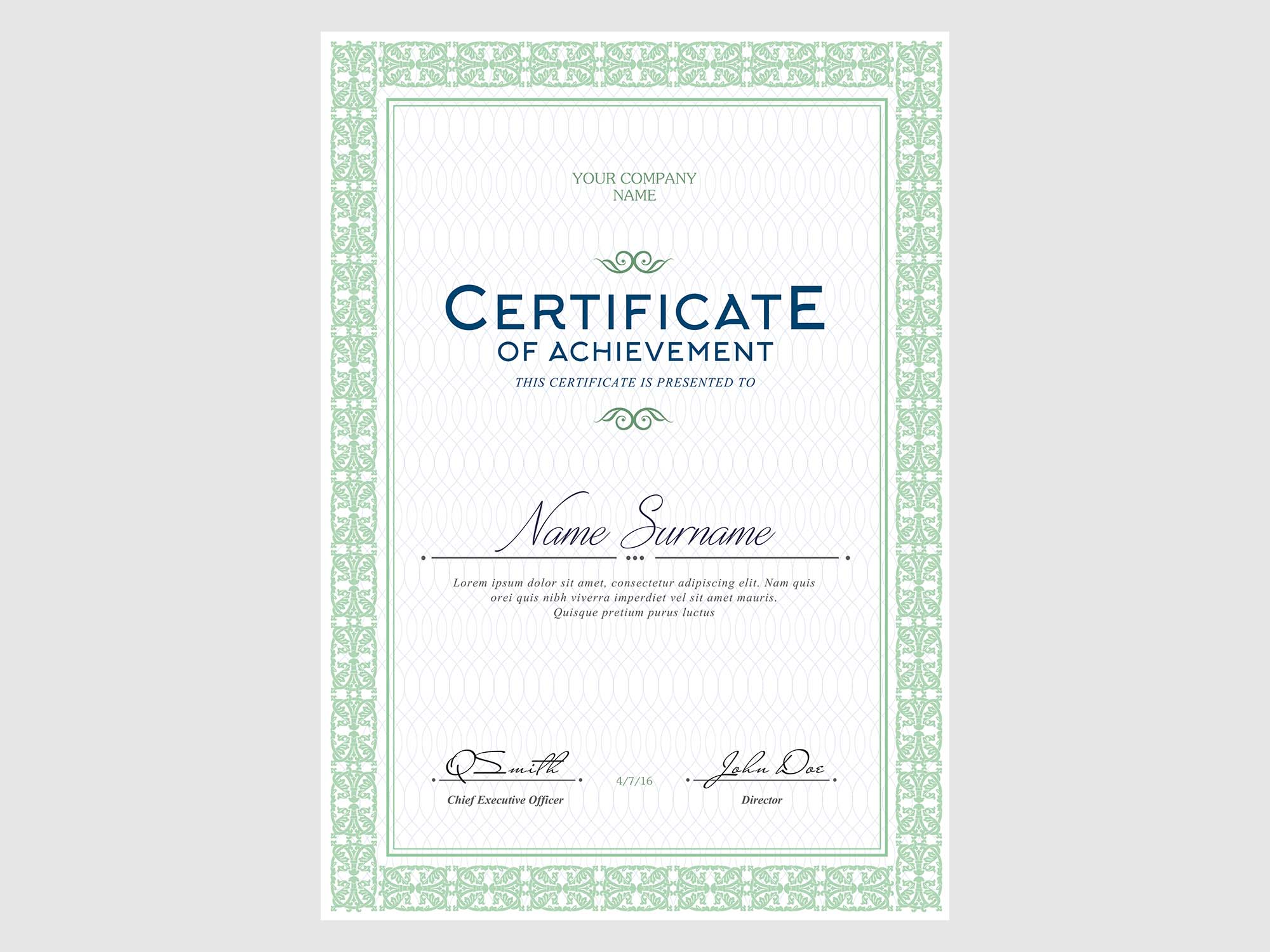 Free Certificates Templates (PSD)