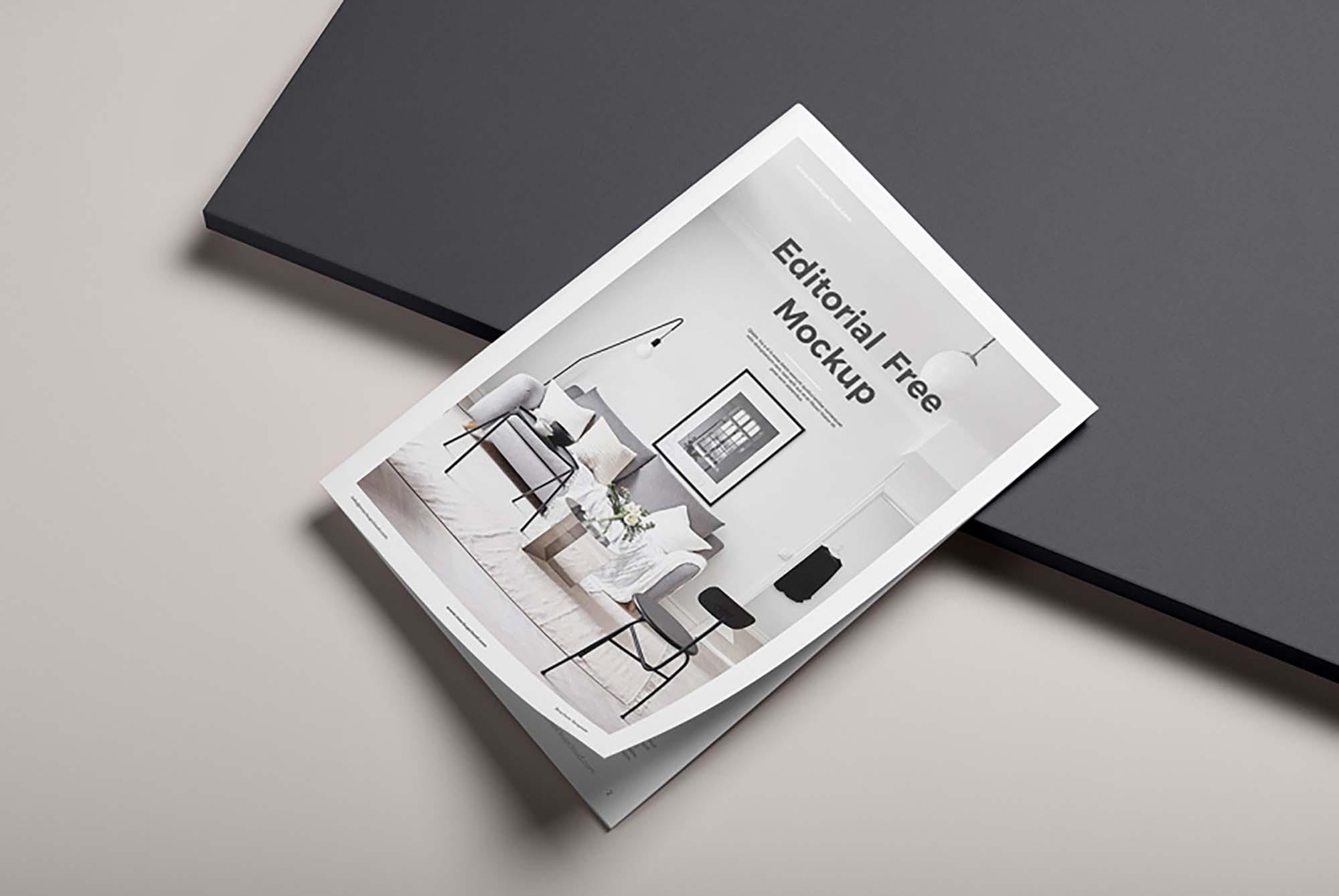 Free Editorial Magazine Mockup Psd