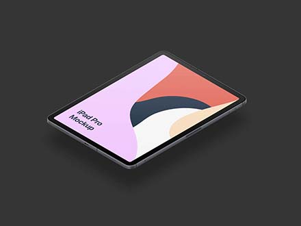 Floating iPad Pro Isometric Mockup