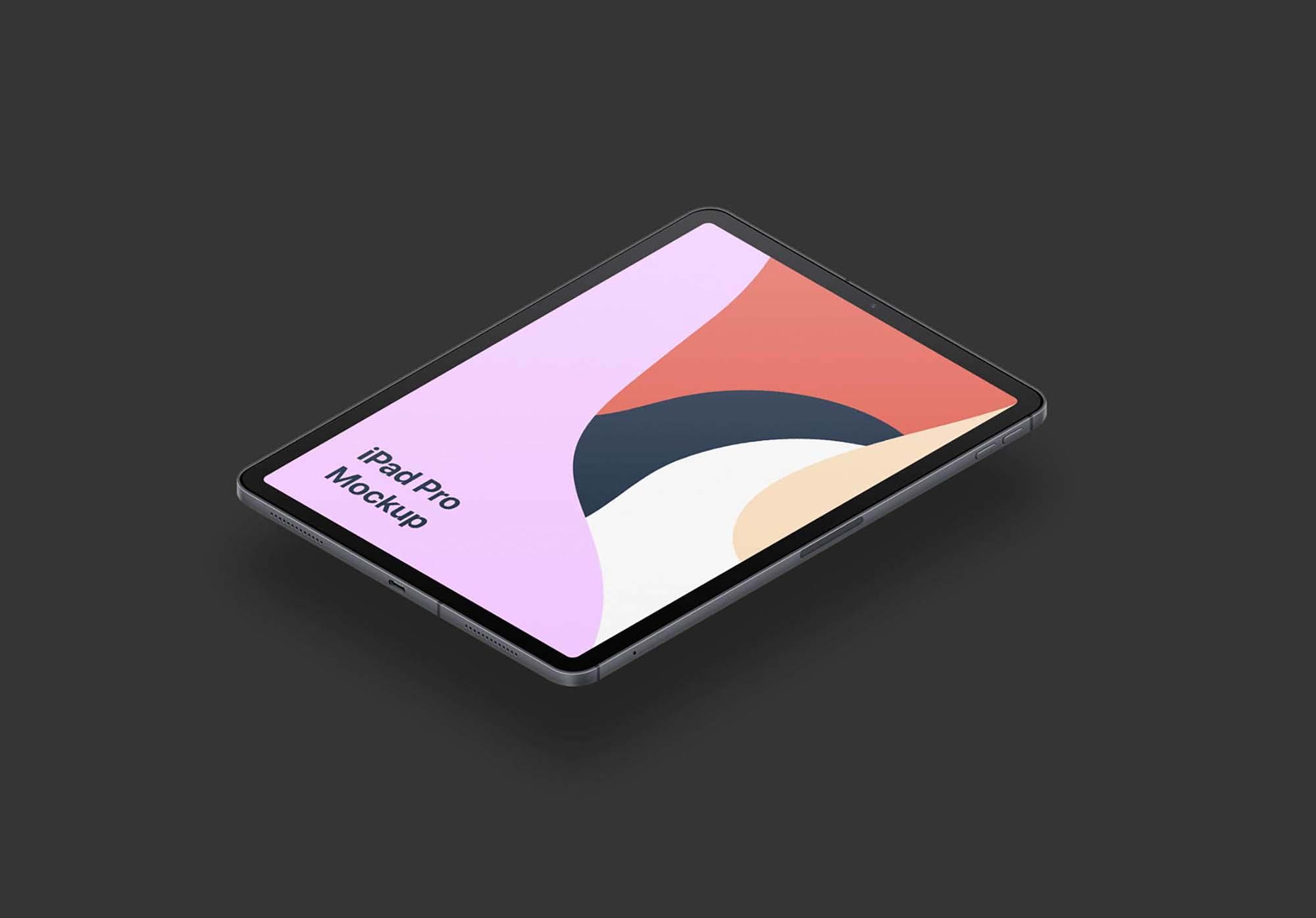 Floating iPad Pro Isometric Mockup