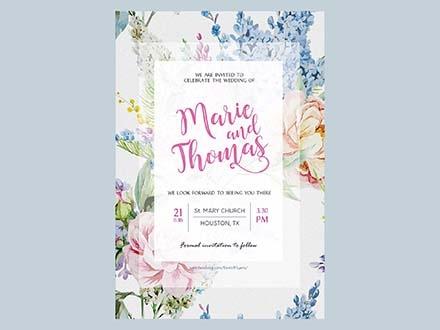 Floral Wedding Invitation Set Template