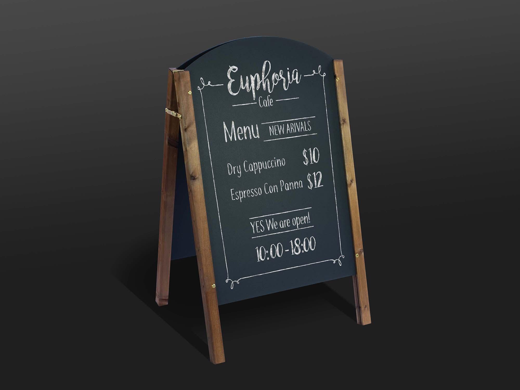 A-Frame Chalkboard Restaurant Menu Mockup