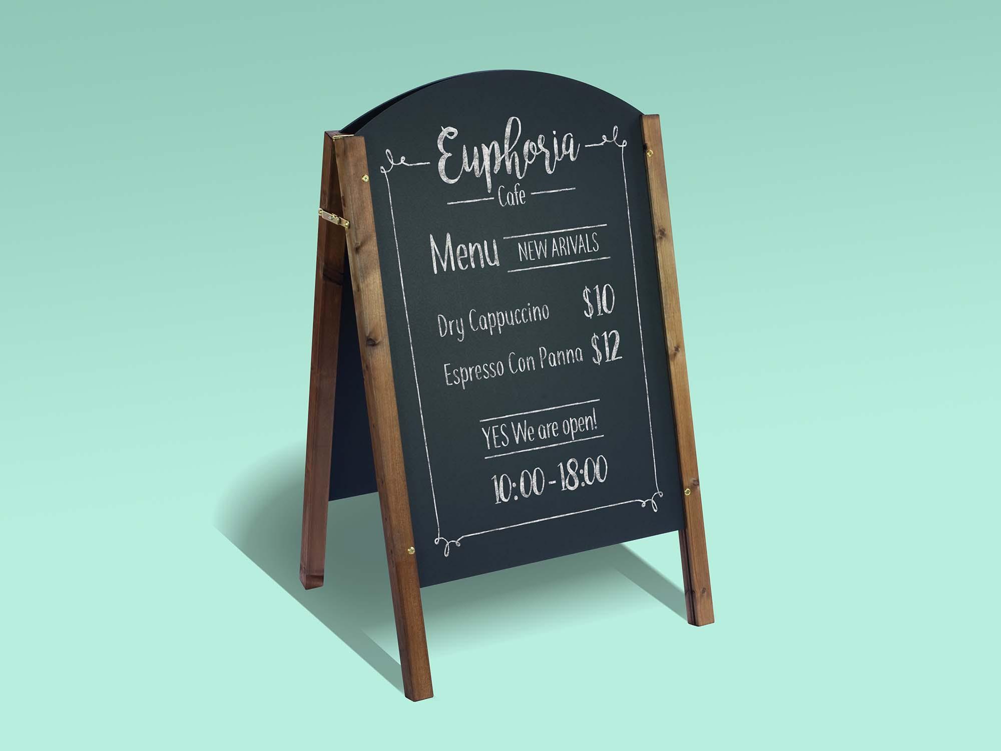 A-Frame Chalkboard Restaurant Menu Mockup 1