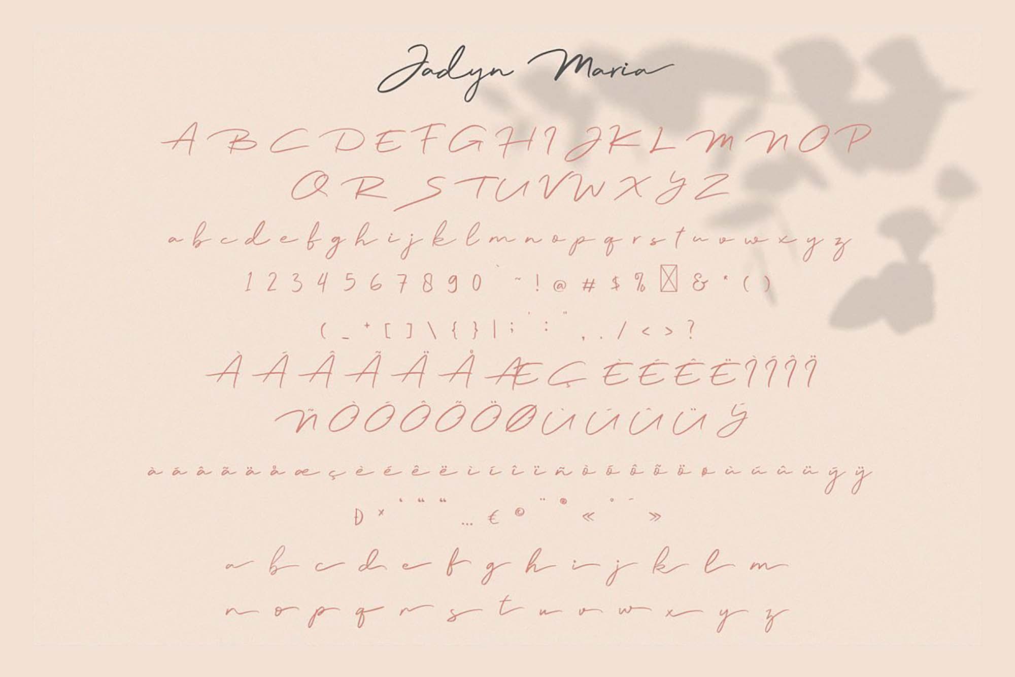 Jadyn Maria Signature Font Letters