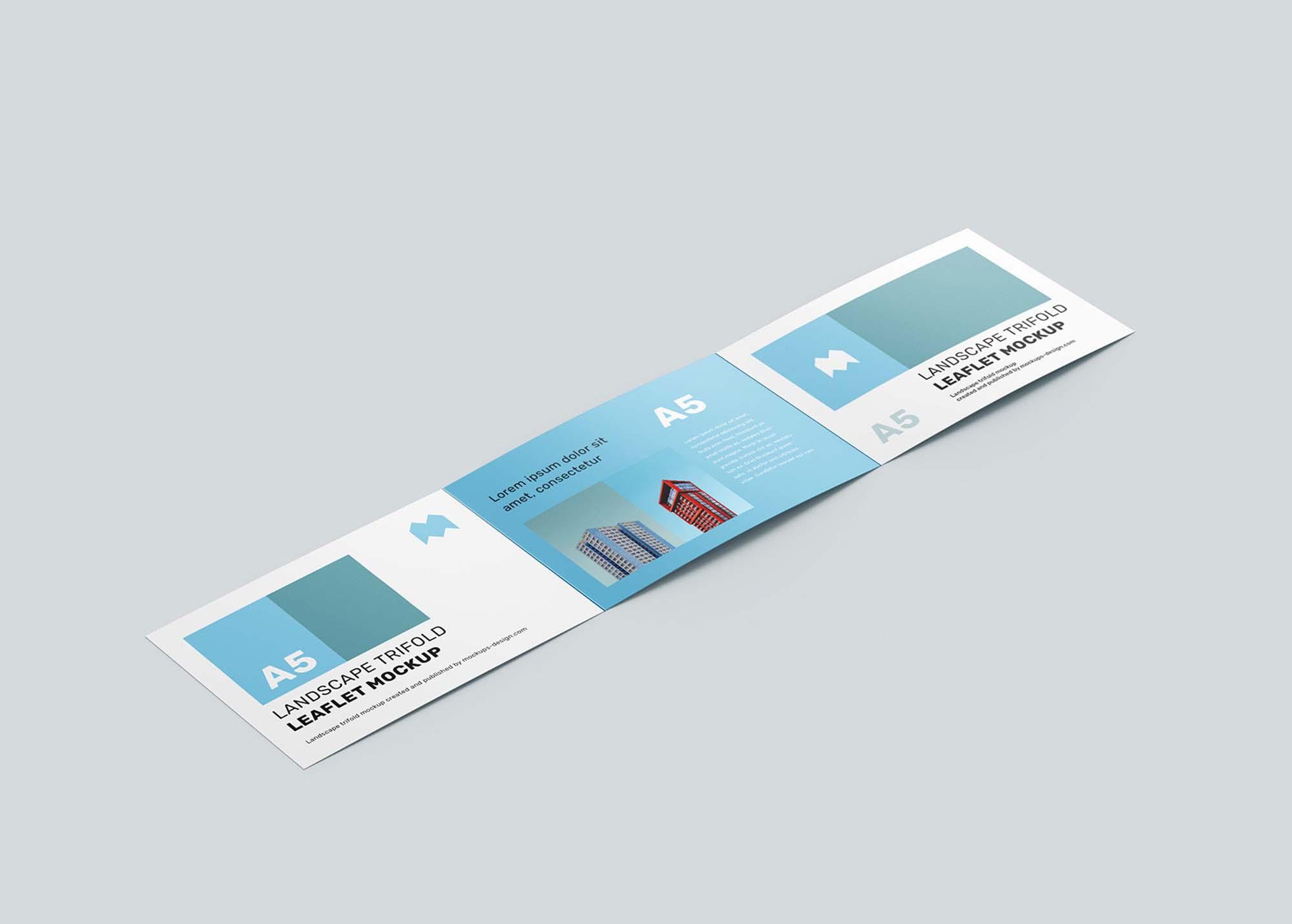 Landscape Trifold Leaflet Mockup