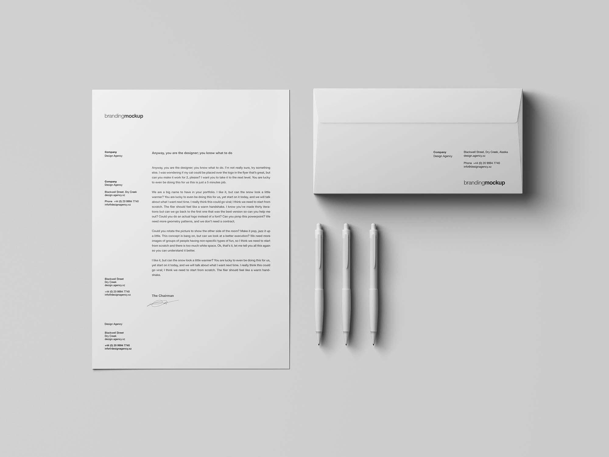 Letterhead & Envelope Branding Mockup
