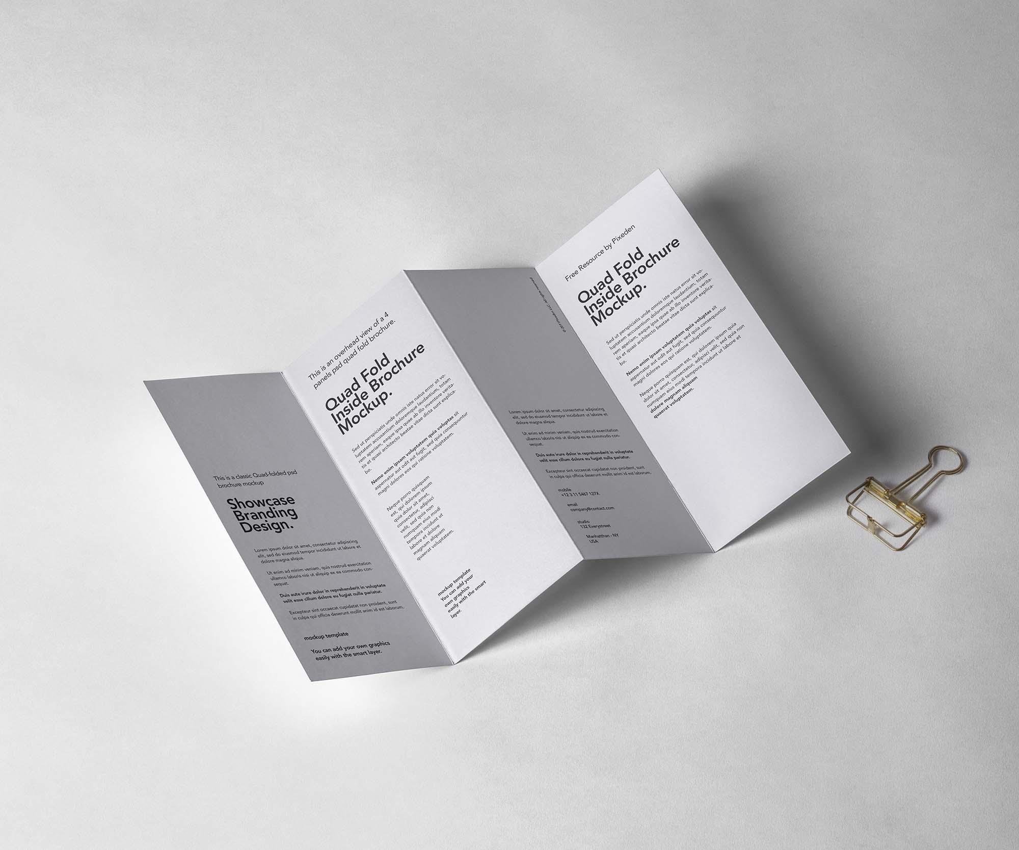 4 Fold Inside Brochure Mockup
