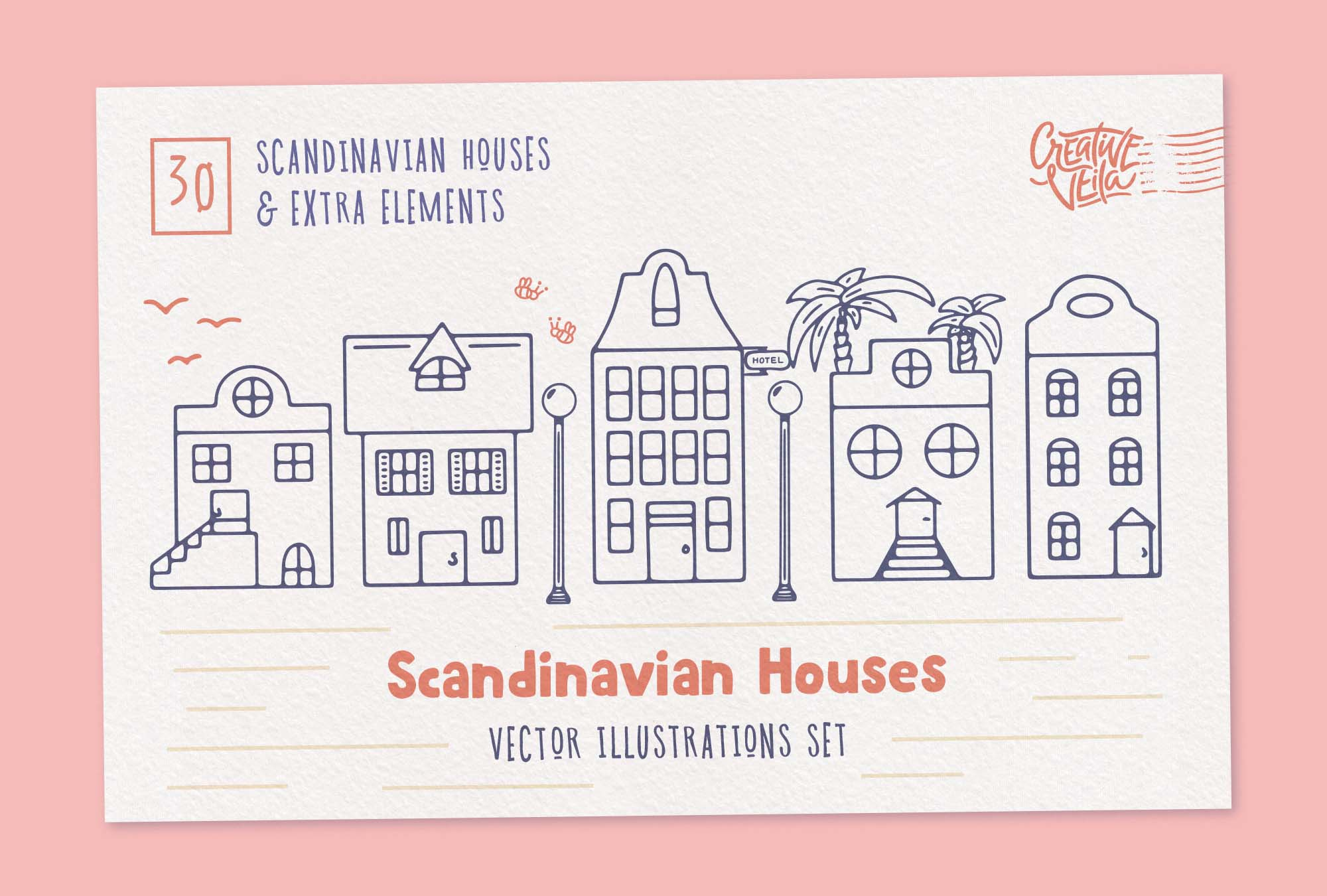 Scandinavian Houses Vector Illustrations 1