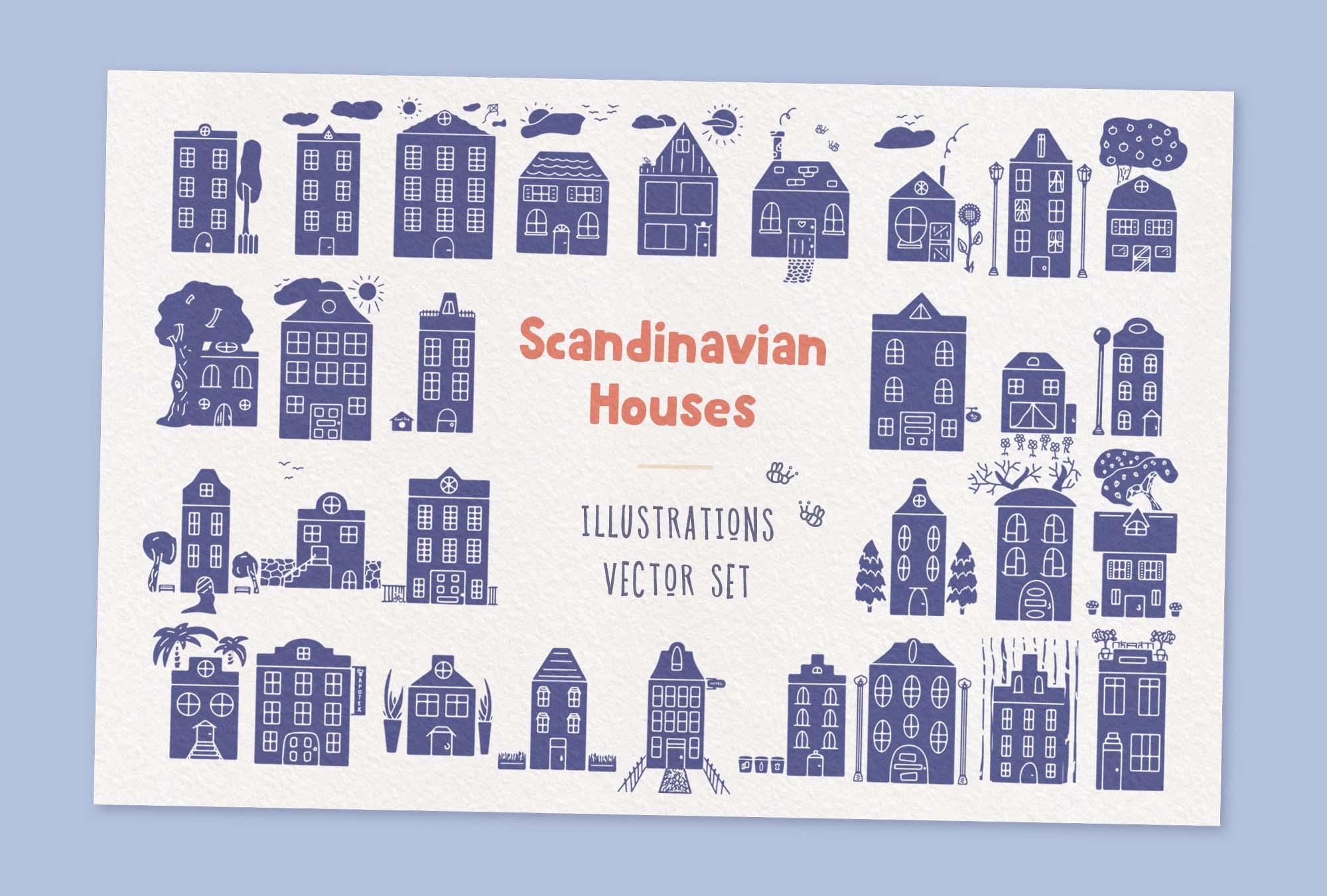 Scandinavian Houses Vector Illustrations 2