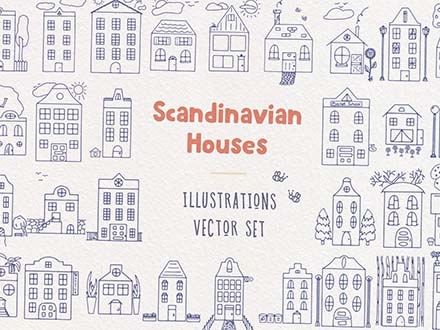 Scandinavian Houses Vector Illustrations