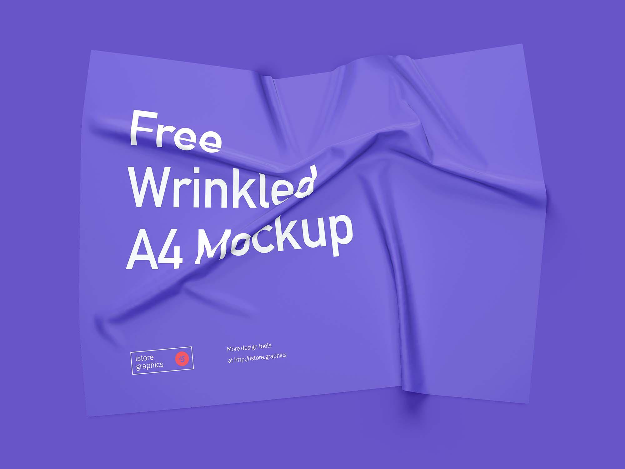 Wrinkled A4 Mockup