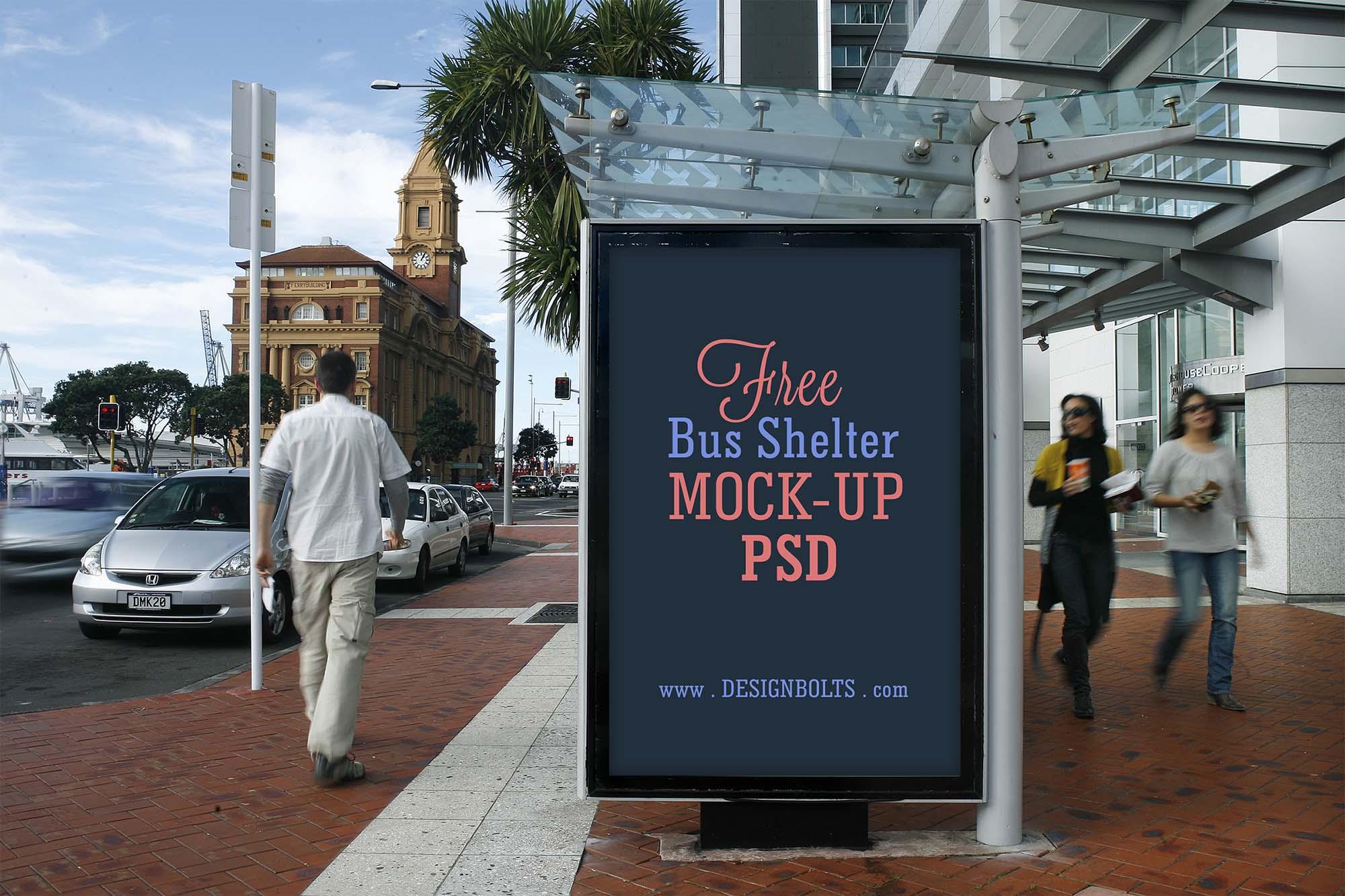 Bus Shelter Advertising Mockup