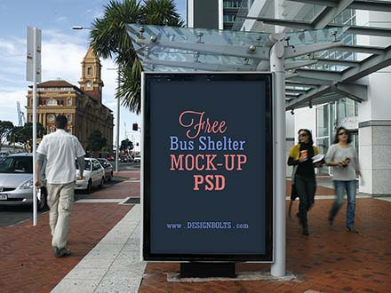 Bus Shelter Advertising Mockup