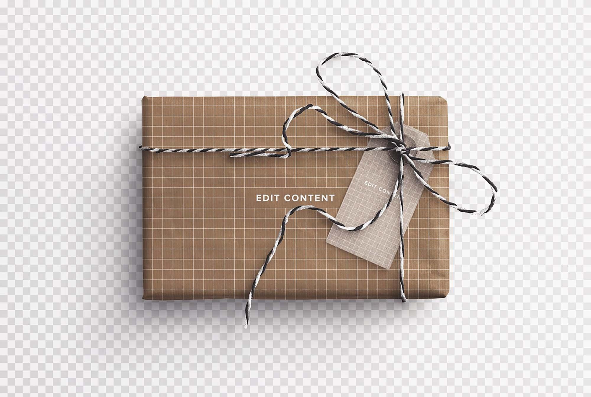 Gift Box and Tag Mockup 3