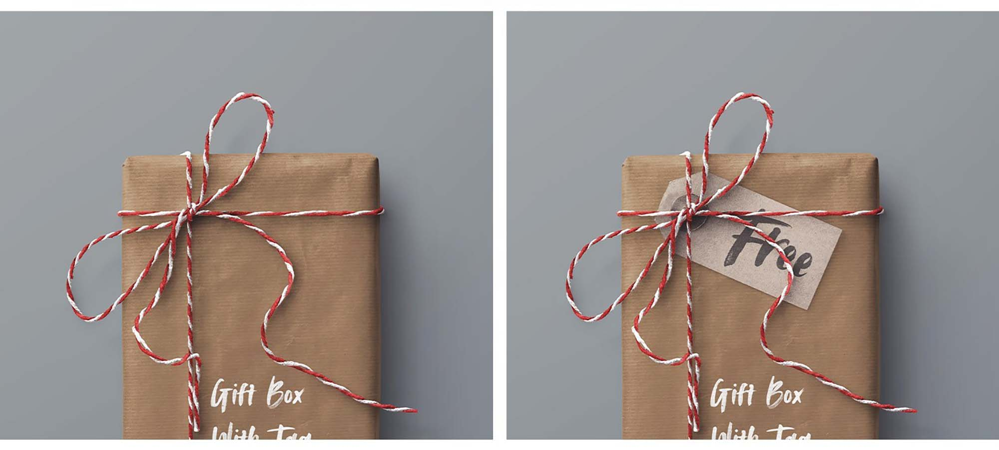 Gift Box and Tag Mockup 4